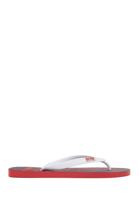 Rubber flip-flops with contrasting logo detail, Red