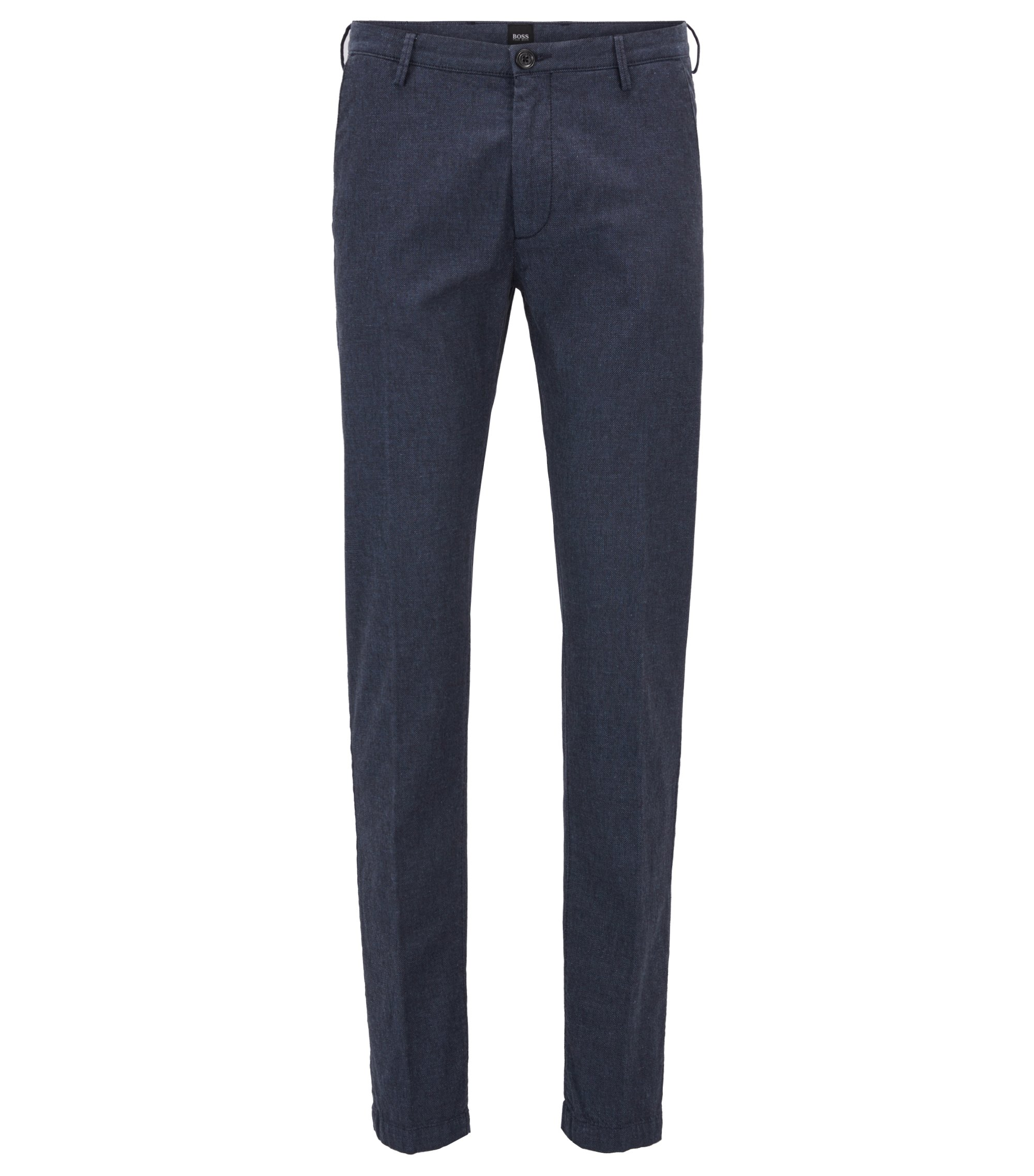Slim-fit chinos in textured stretch-cotton, Dark Blue