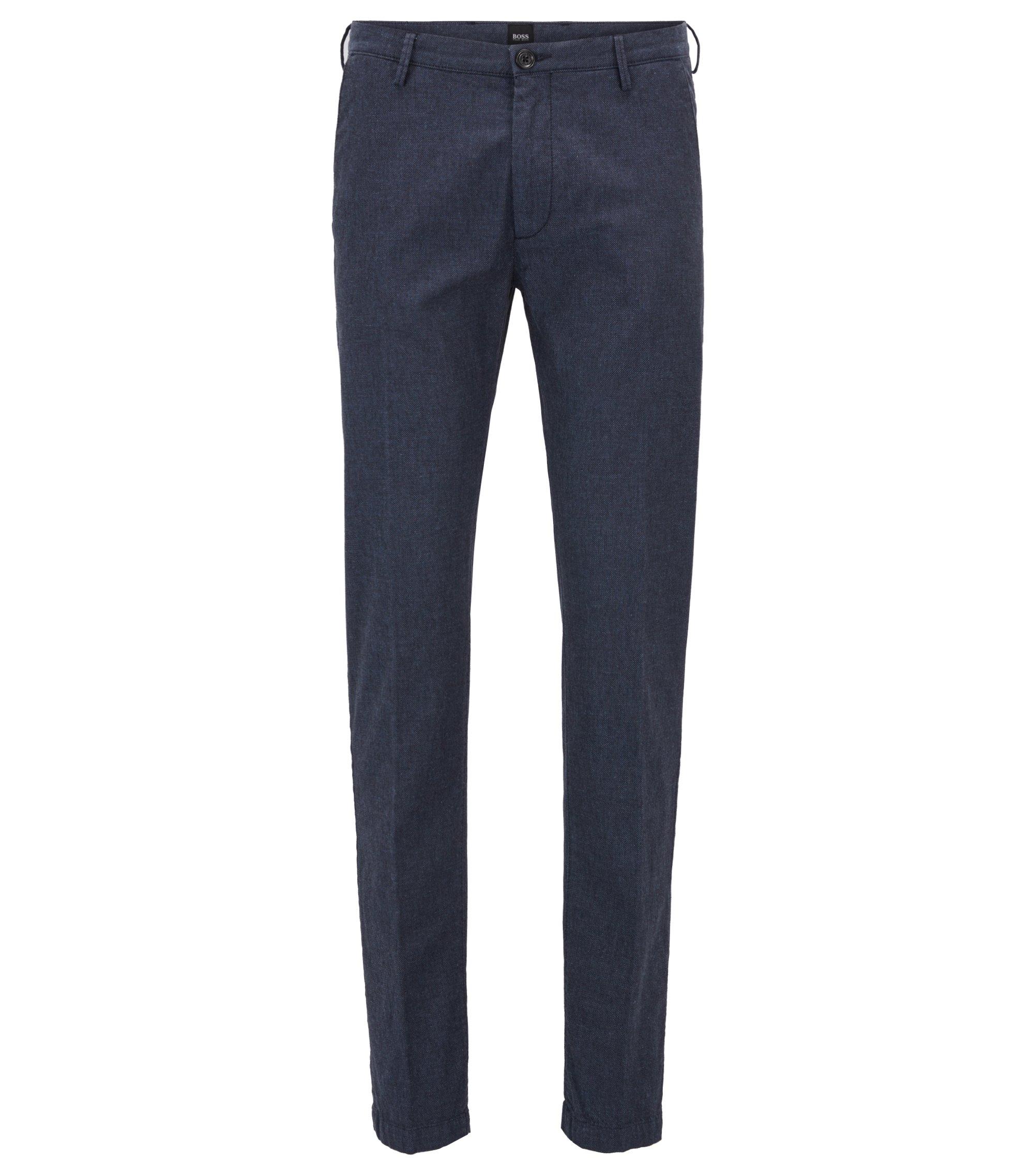 Chino Slim Fit en coton stretch texturé, Bleu foncé