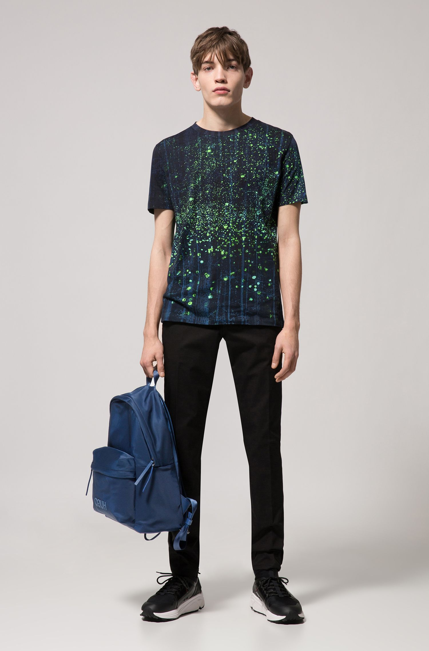 Relaxed-fit cotton T-shirt with firefly artwork, Patterned