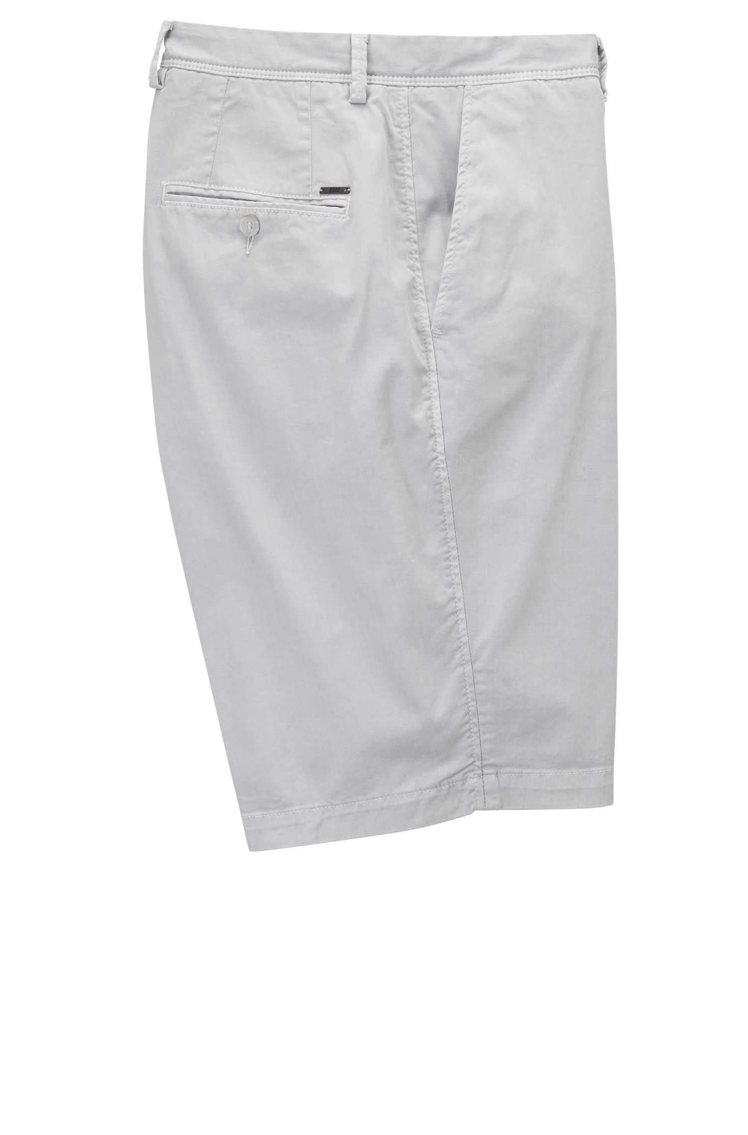 Pigmentgefärbte Regular-Fit Chino-Shorts, Hellgrau
