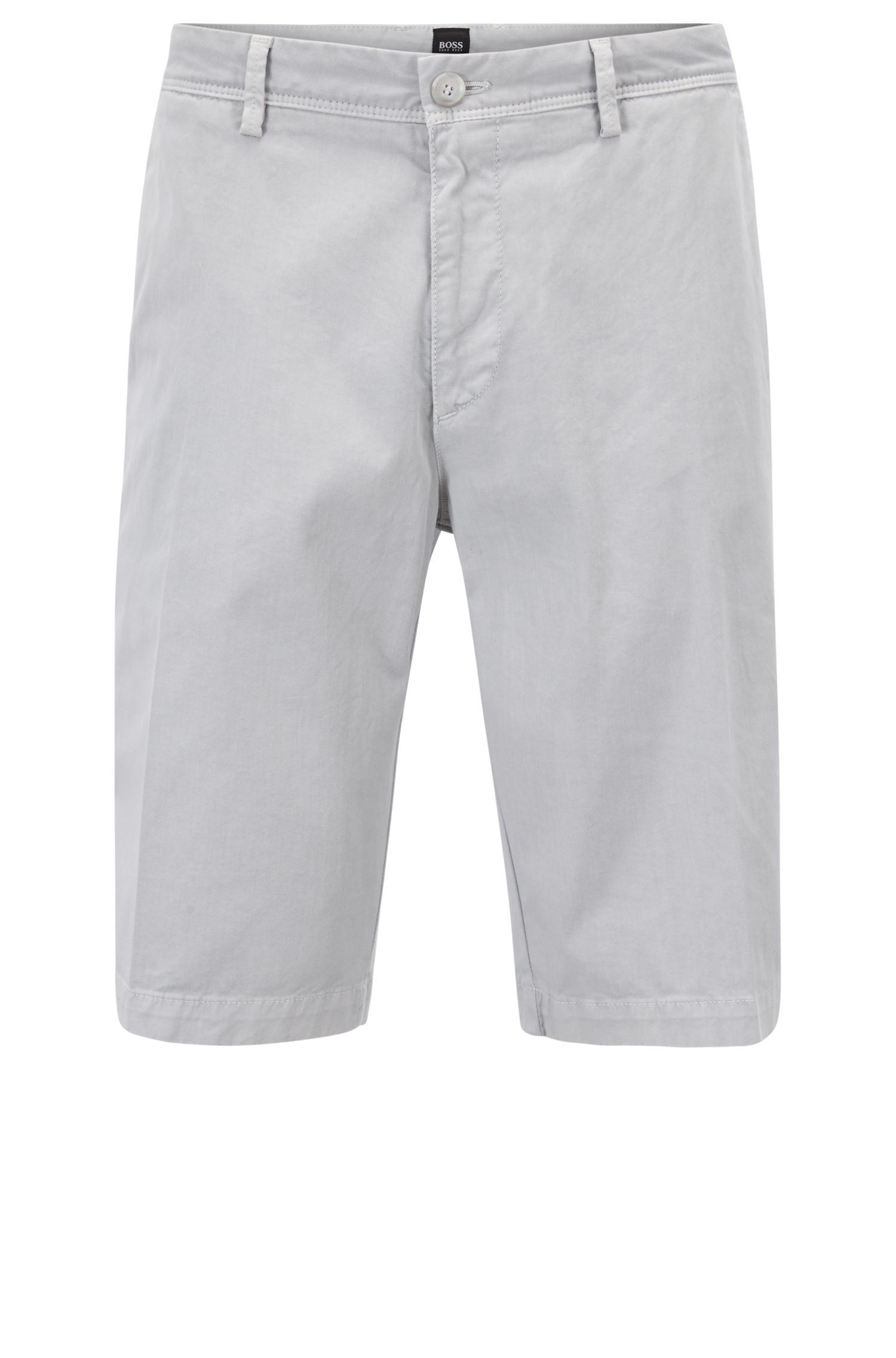 Short chino Regular Fit à la teinture pigmentaire, Gris chiné