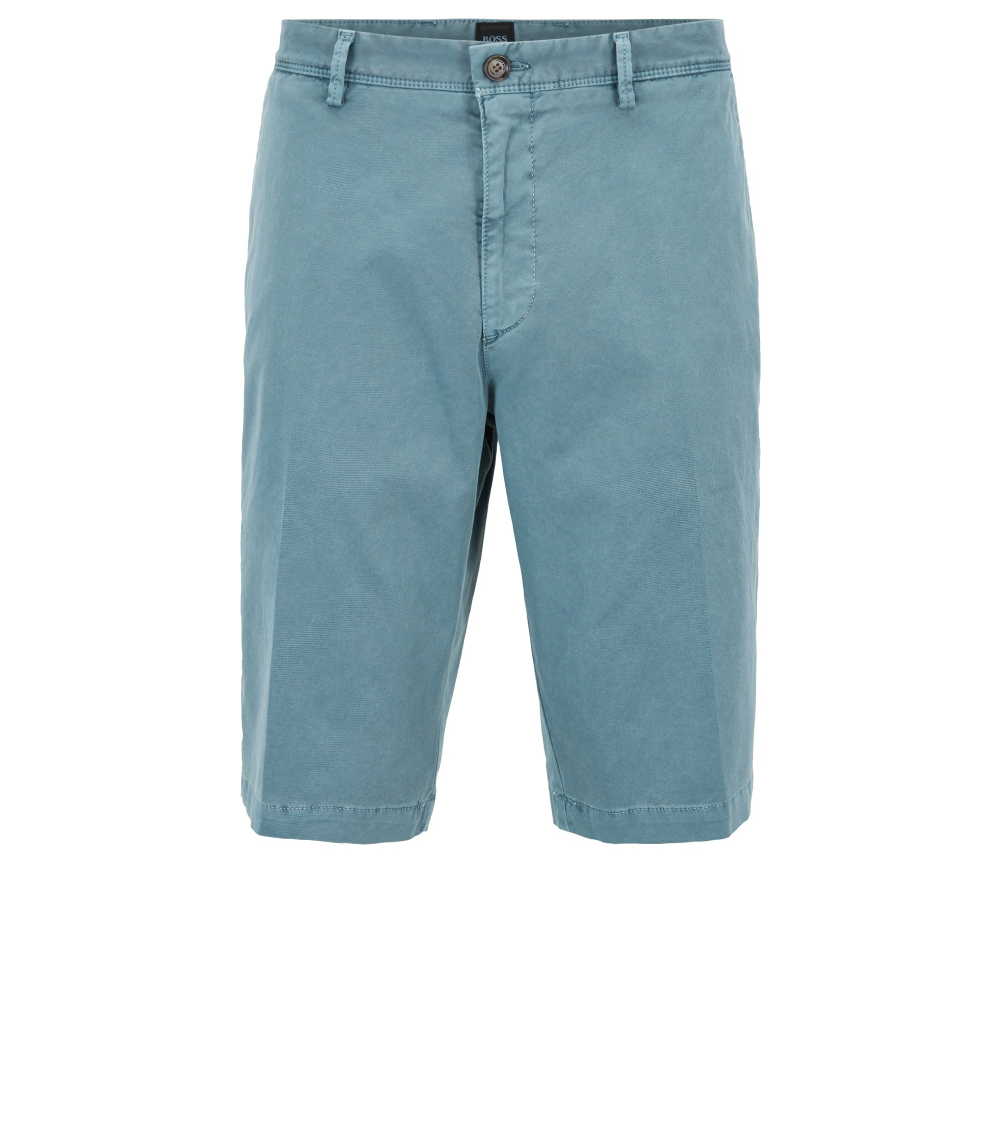 Short chino Regular Fit à la teinture pigmentaire, Vert sombre