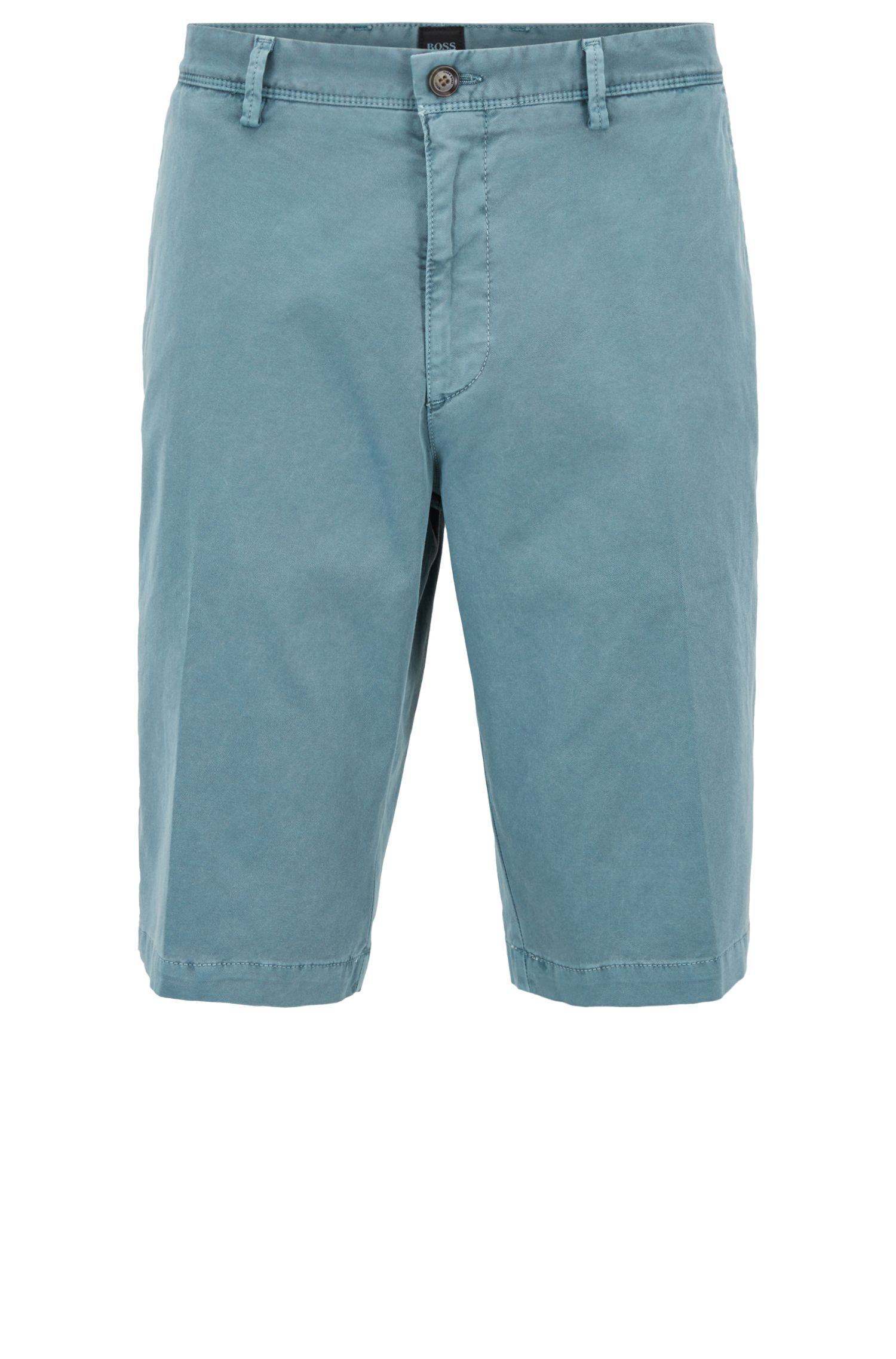 Pigmentgefärbte Regular-Fit Chino-Shorts, Dunkelgrün