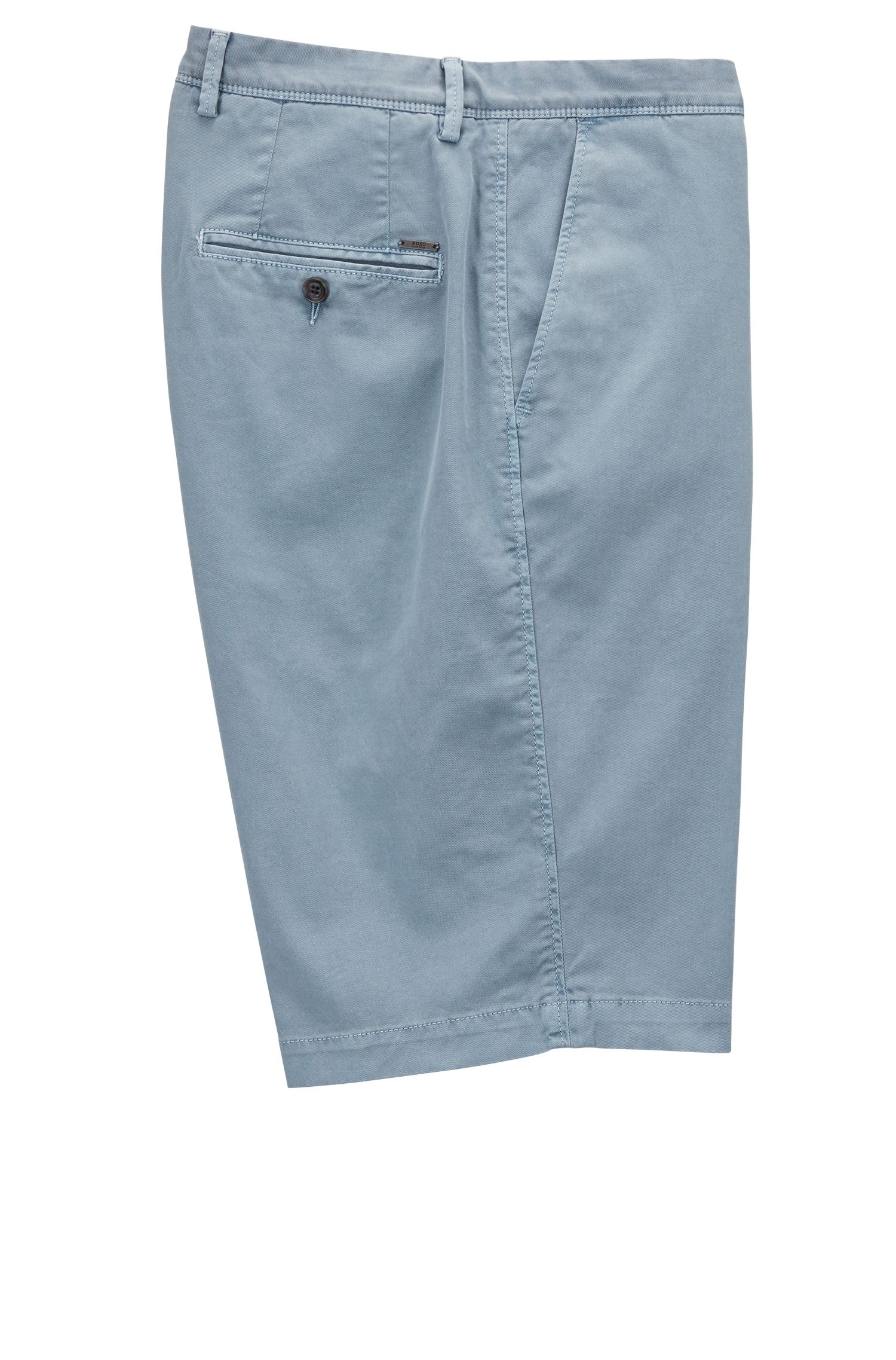 Pigmentgefärbte Regular-Fit Chino-Shorts, Hellblau