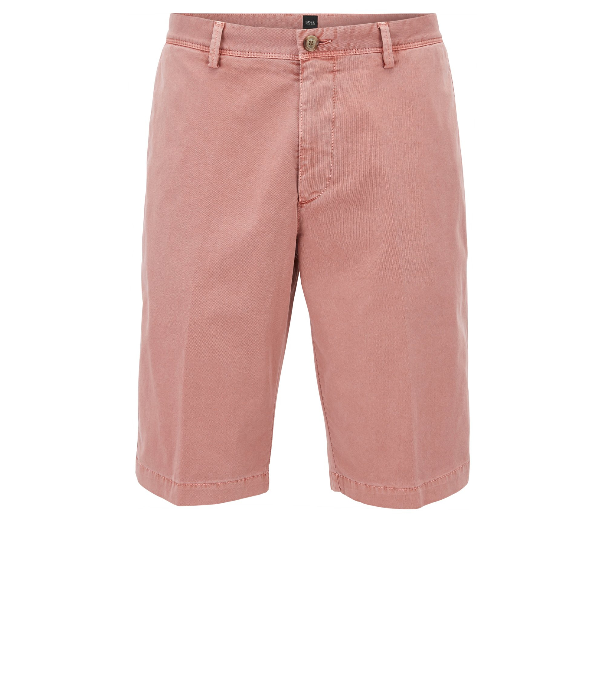 Pigmentgefärbte Regular-Fit Chino-Shorts, Hellrot