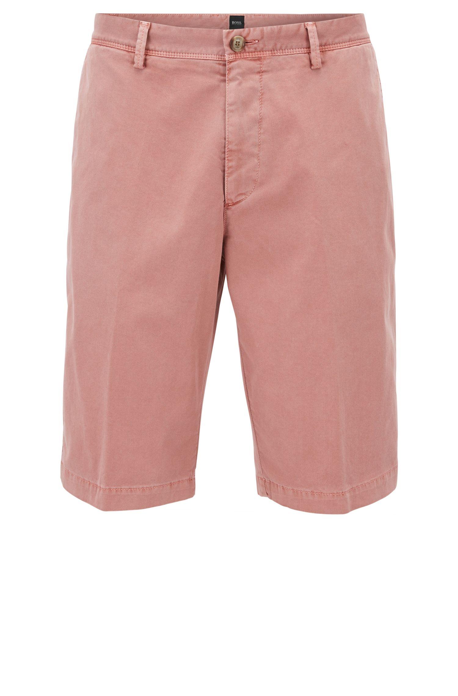 Pantaloncini chino regular fit con tintura a pigmenti, Rosso chiaro
