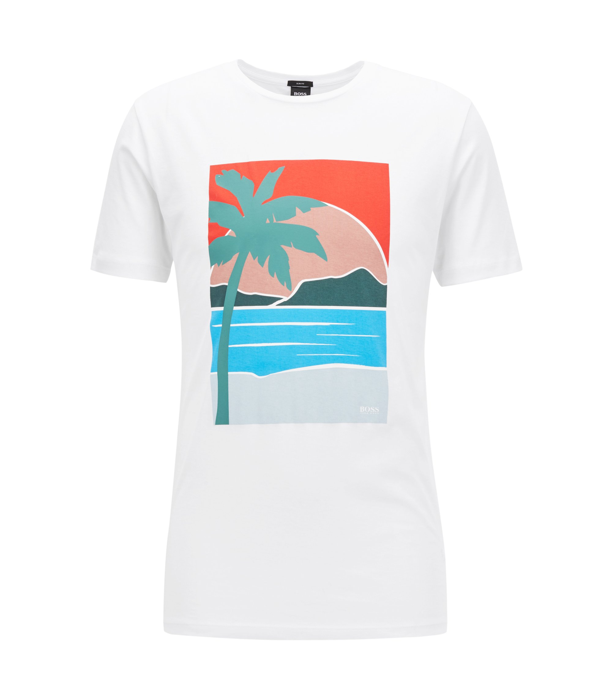 Camiseta slim fit con estampado veraniego, Blanco