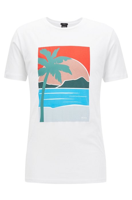 add85bd3 Slim-fit T-shirt with placed summer print, White