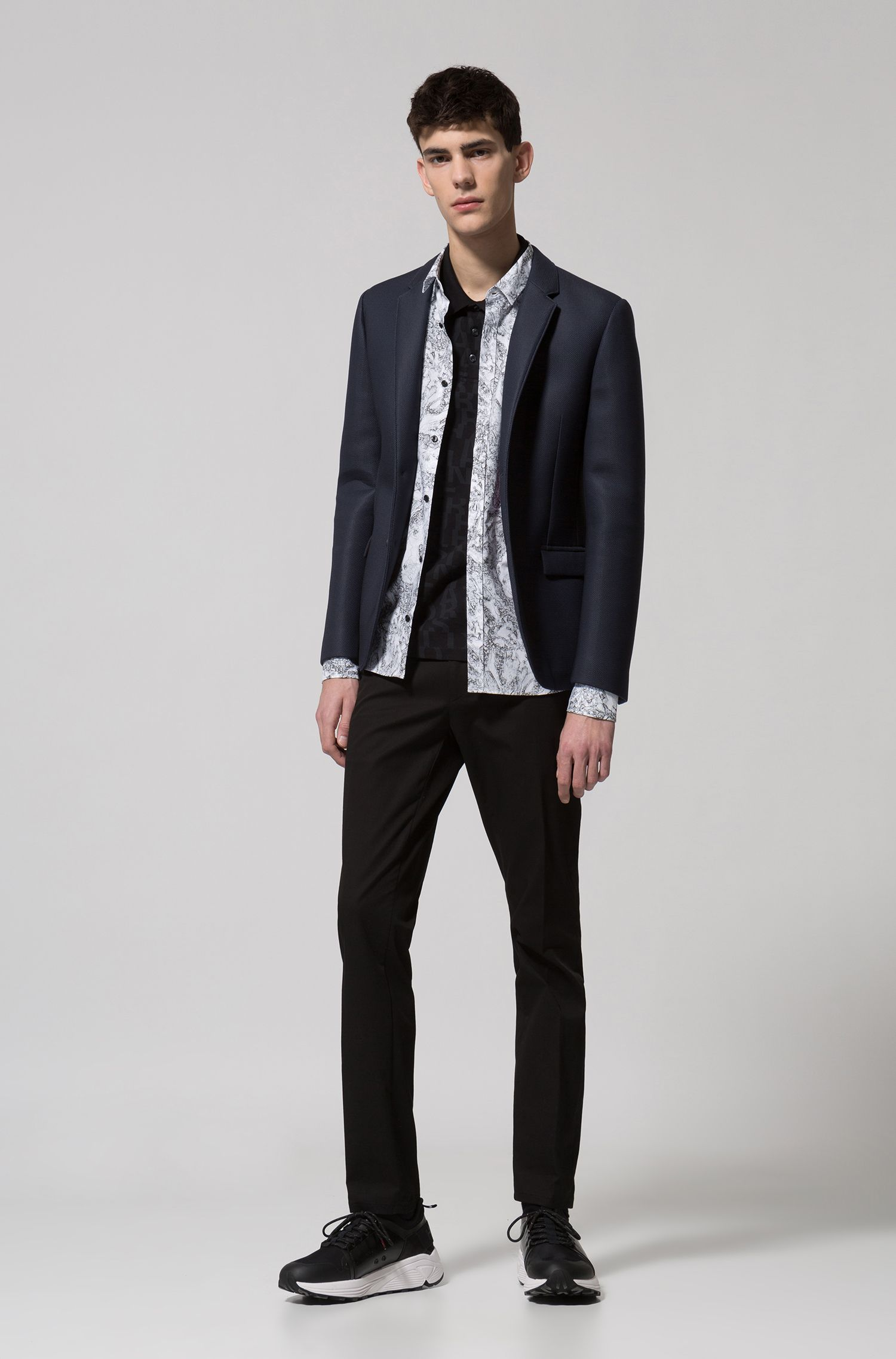 Extra slim-fit blazer met notch-revers, Zwart