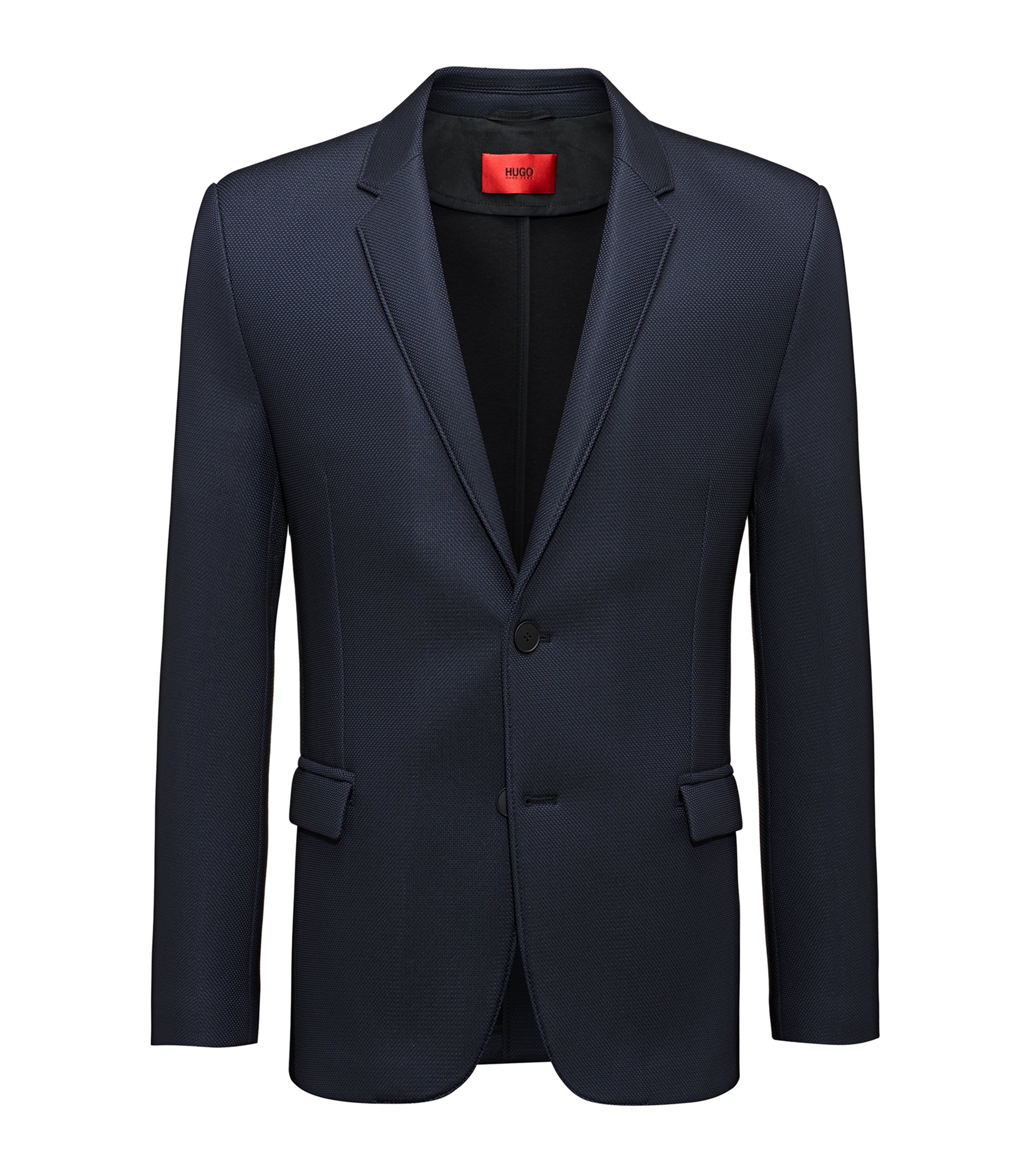 Extra-slim-fit blazer with notch lapels, Black