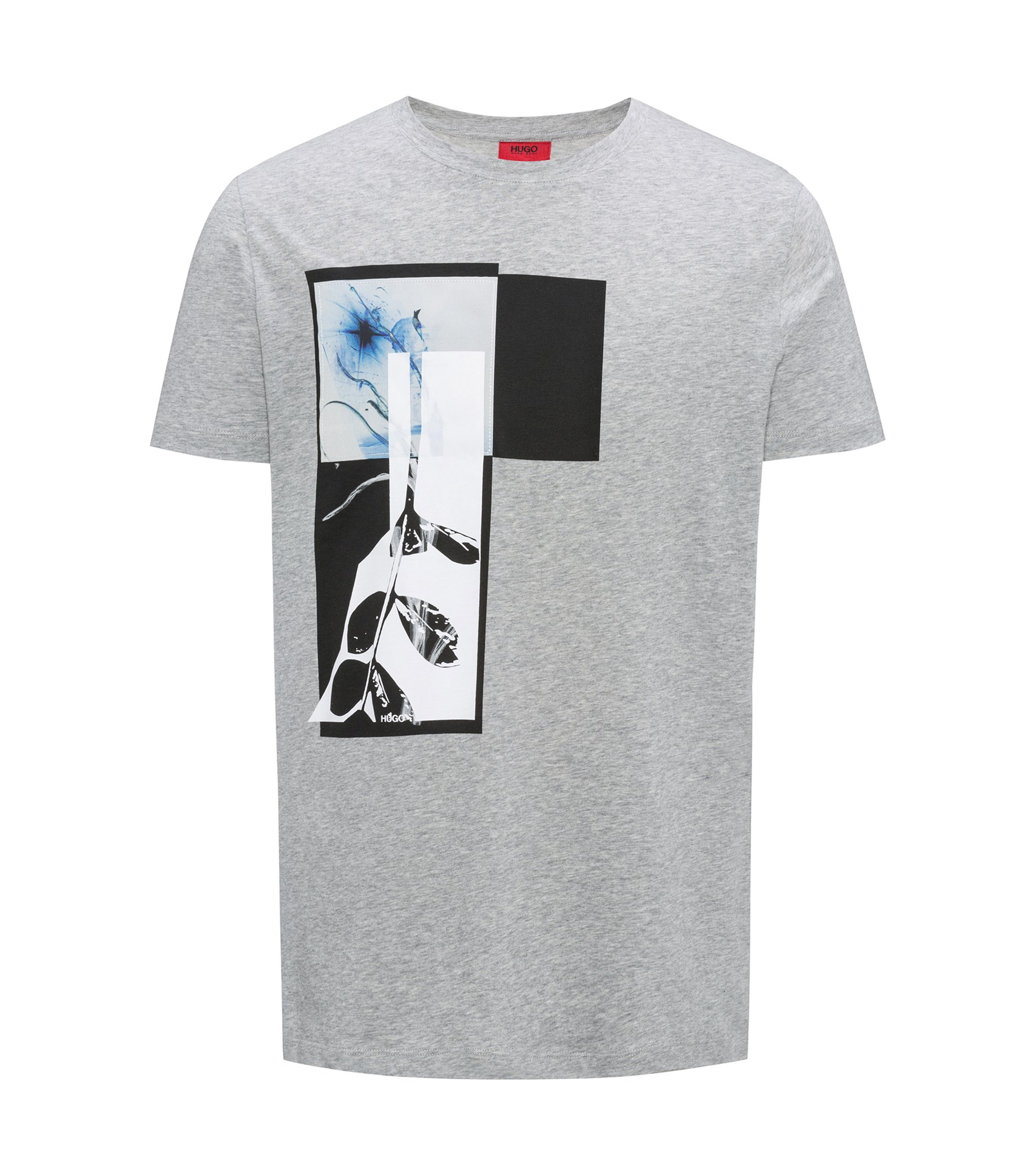 Relaxed-fit T-shirt in cotton with abstract print, Grey