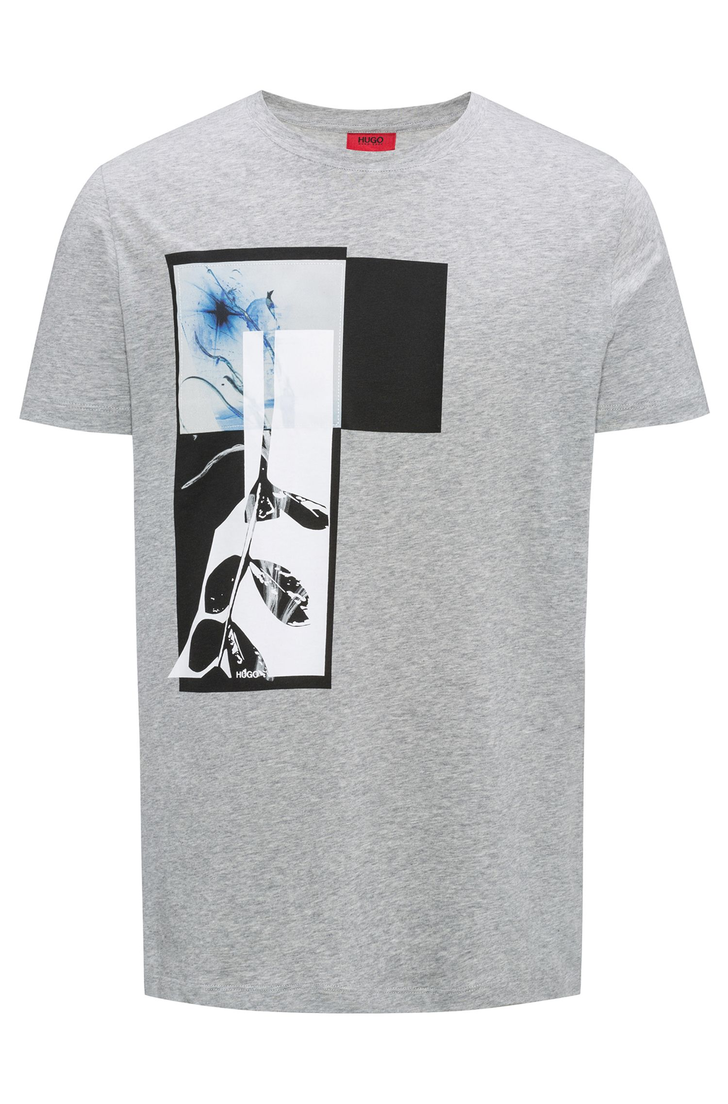 Relaxed-Fit T-Shirt aus Single Jersey mit abstraktem Print, Grau