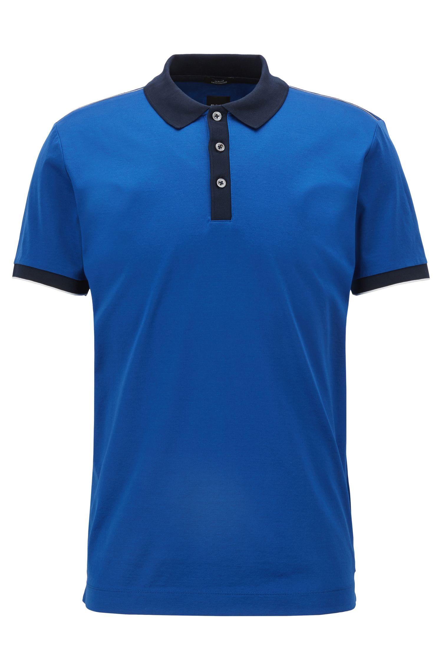 Poloshirt aus merzerisierter Baumwolle, Blau