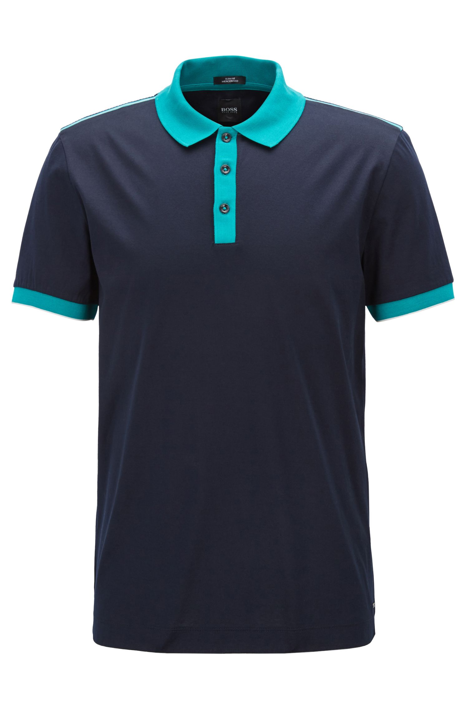 Polo slim fit in cotone mercerizzato, Blu scuro