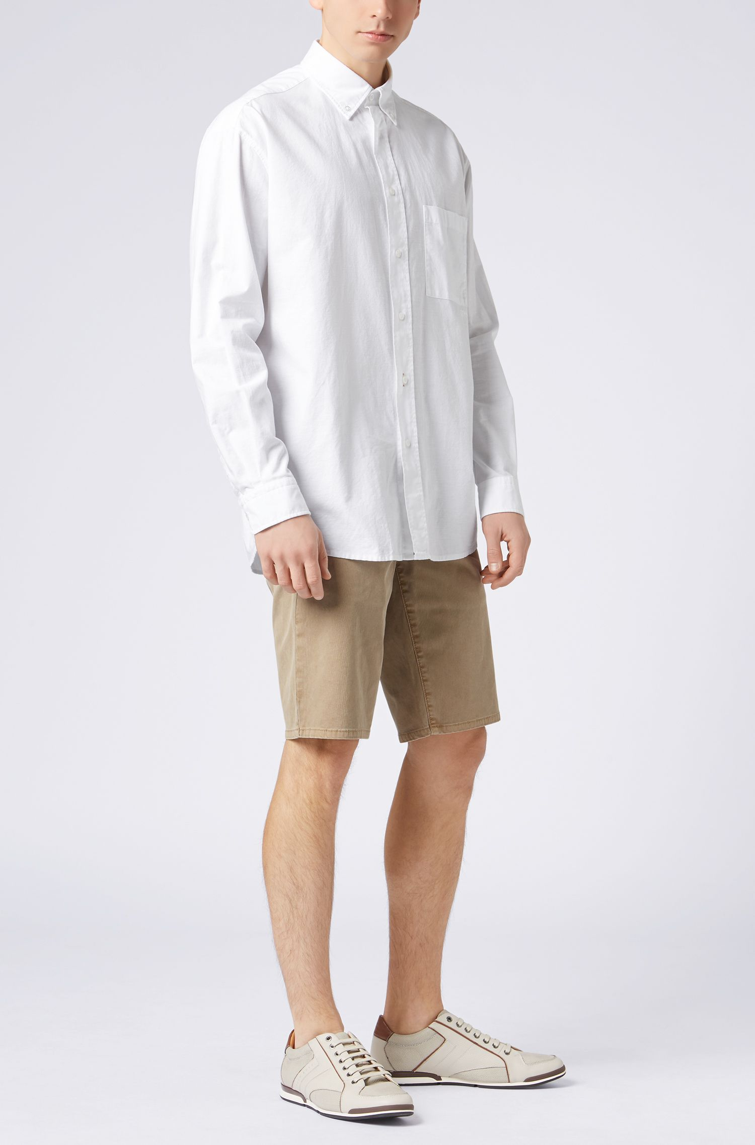 Camisa tipo Oxford relaxed fit con cuello abotonado, Blanco