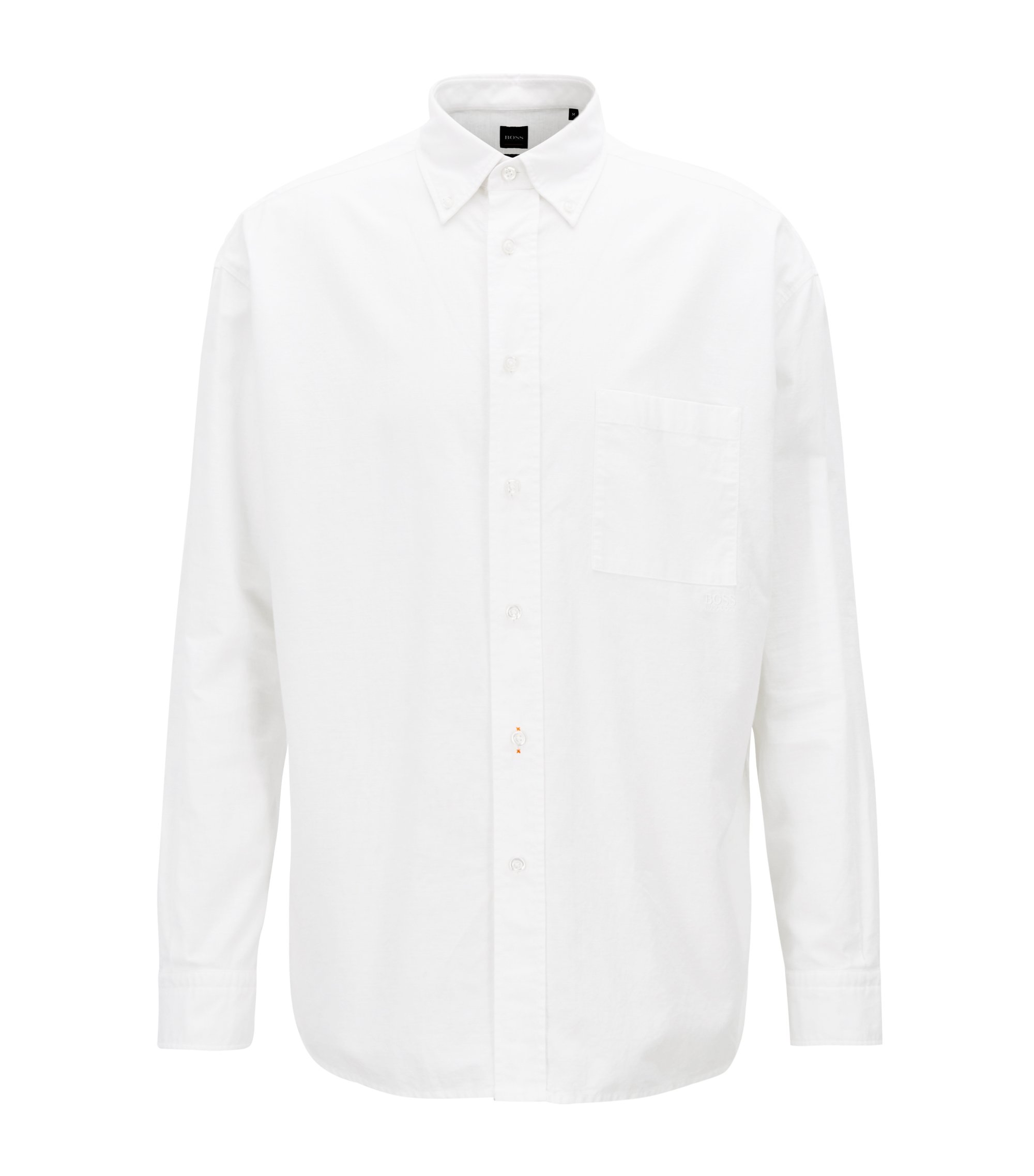 Camicia stile oxford relaxed fit con colletto button-down, Bianco