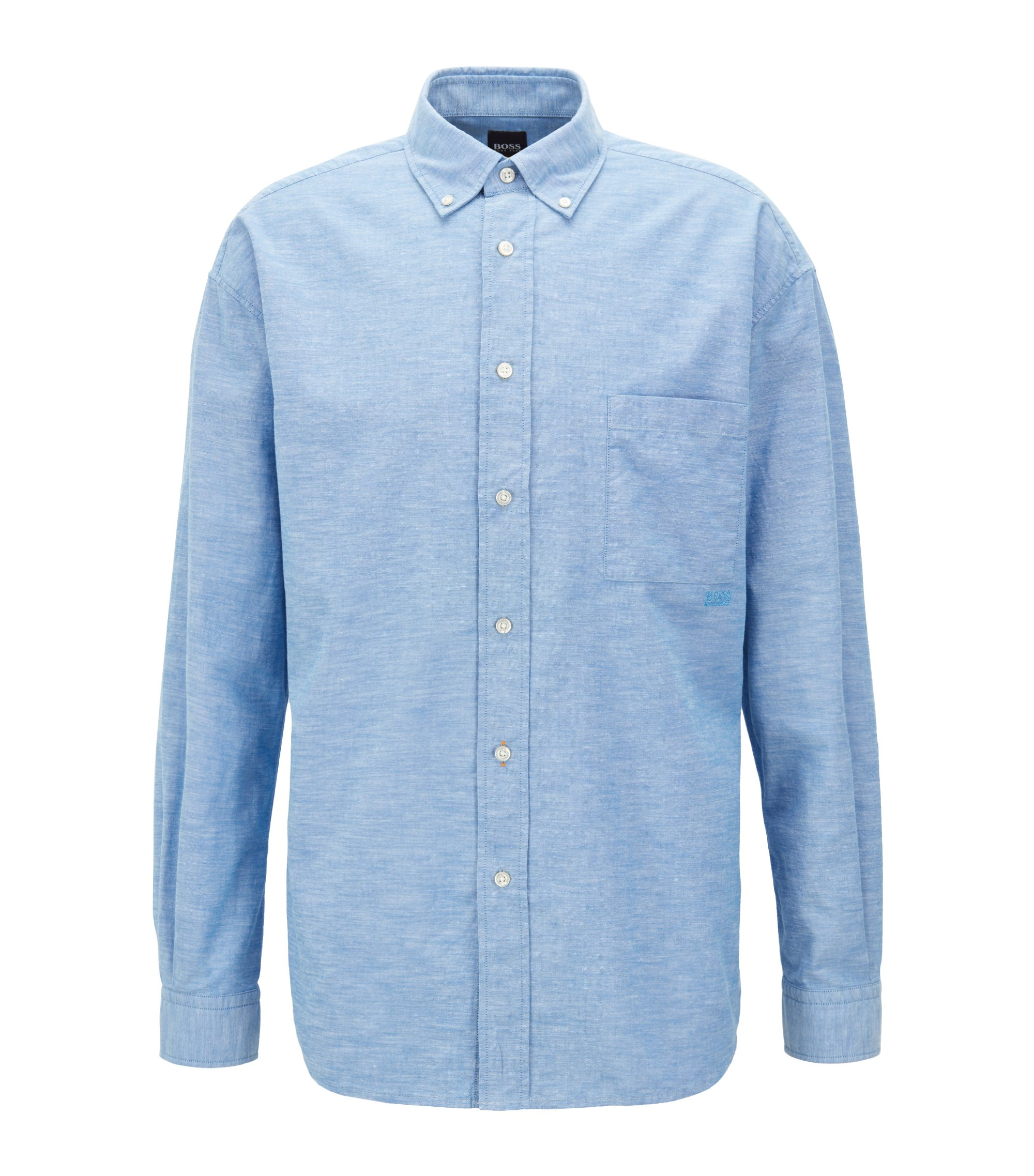 Relaxed-Fit Oxford-Hemd aus Baumwolle mit Button-Down-Kragen, Hellblau