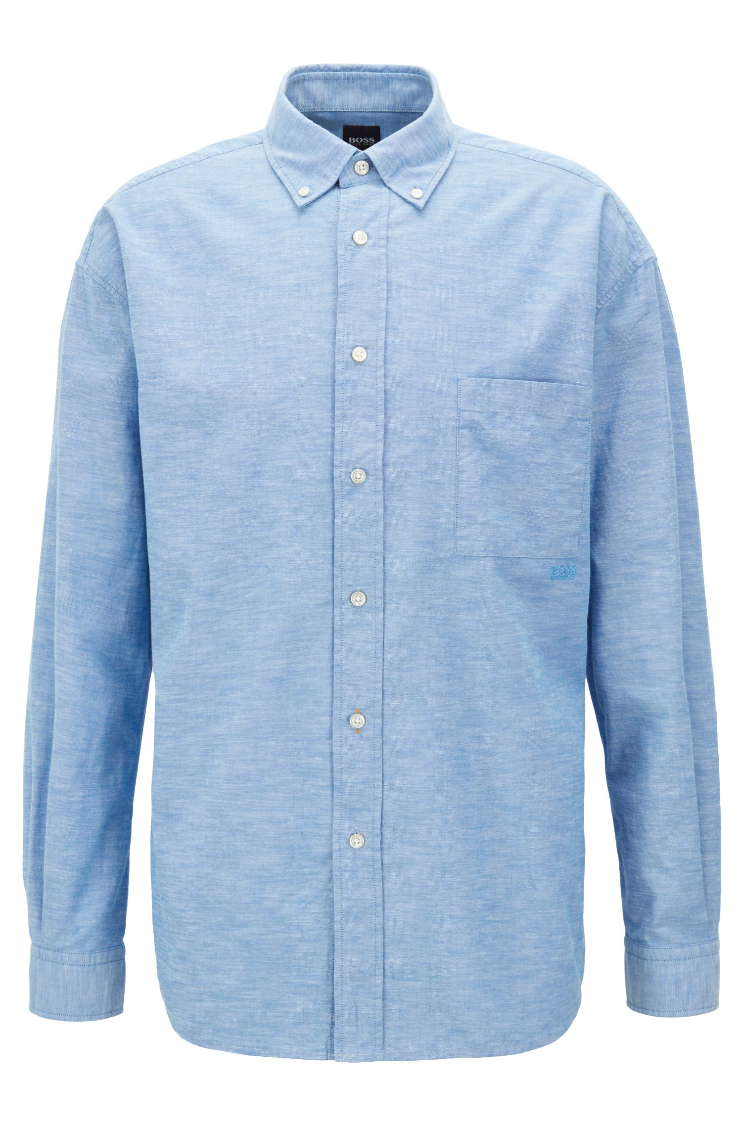 Relaxed-fit Oxford shirt with button-down collar, Light Blue
