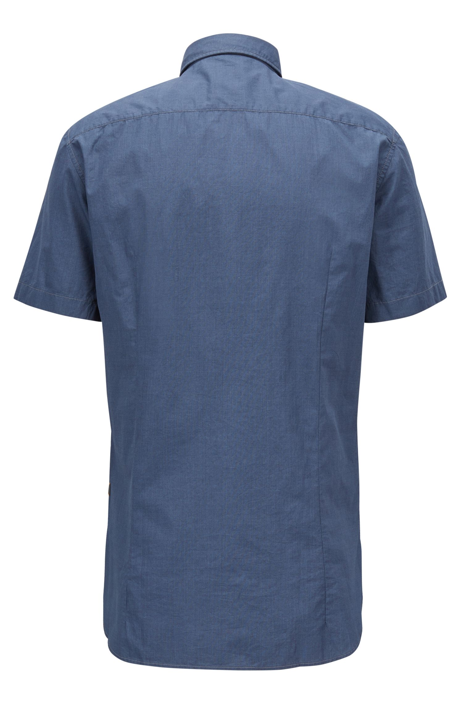 Slim-fit shirt in pigment-printed cotton canvas, Dark Blue