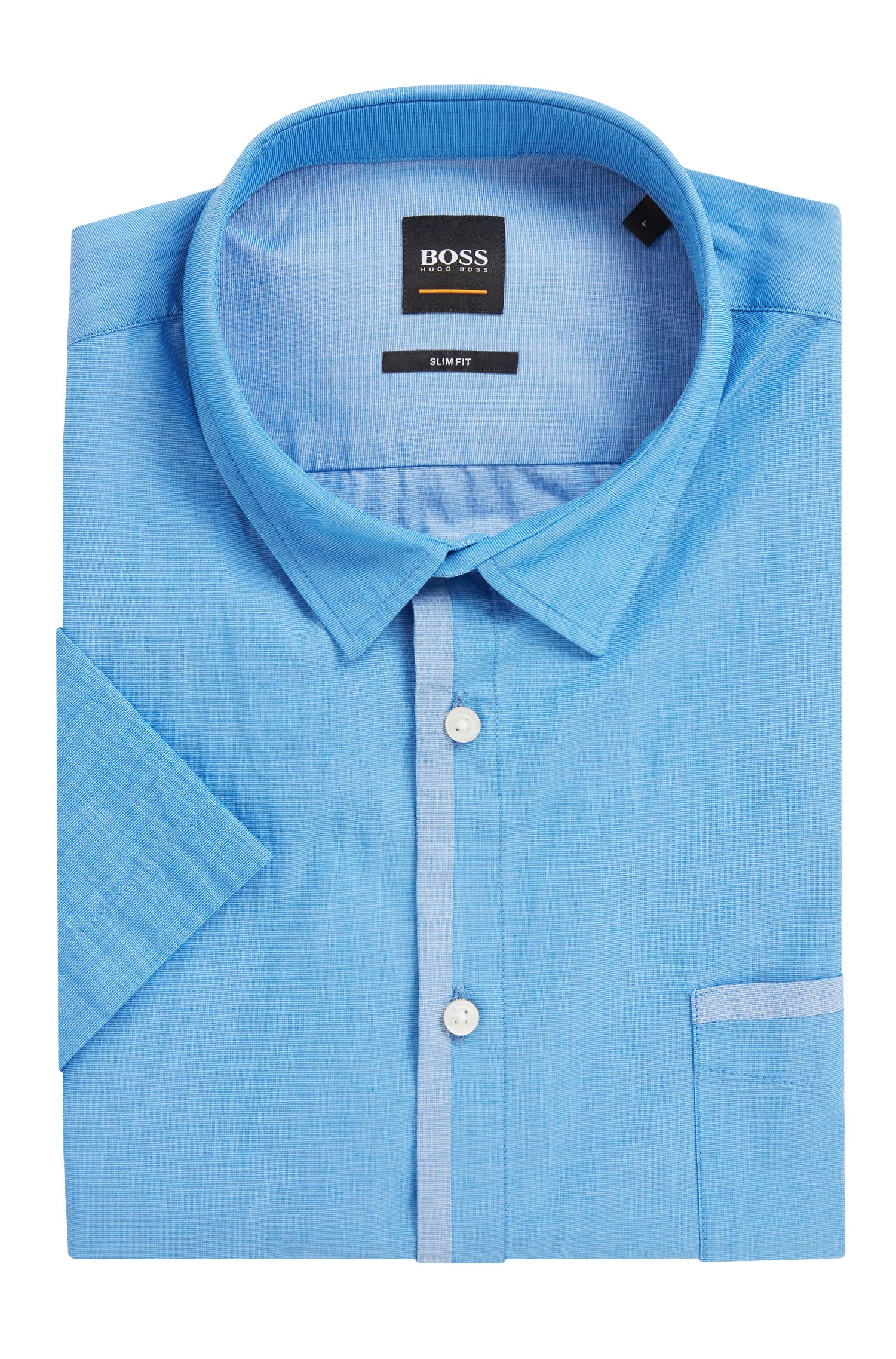 Slim-fit shirt in pigment-printed cotton canvas, Blue