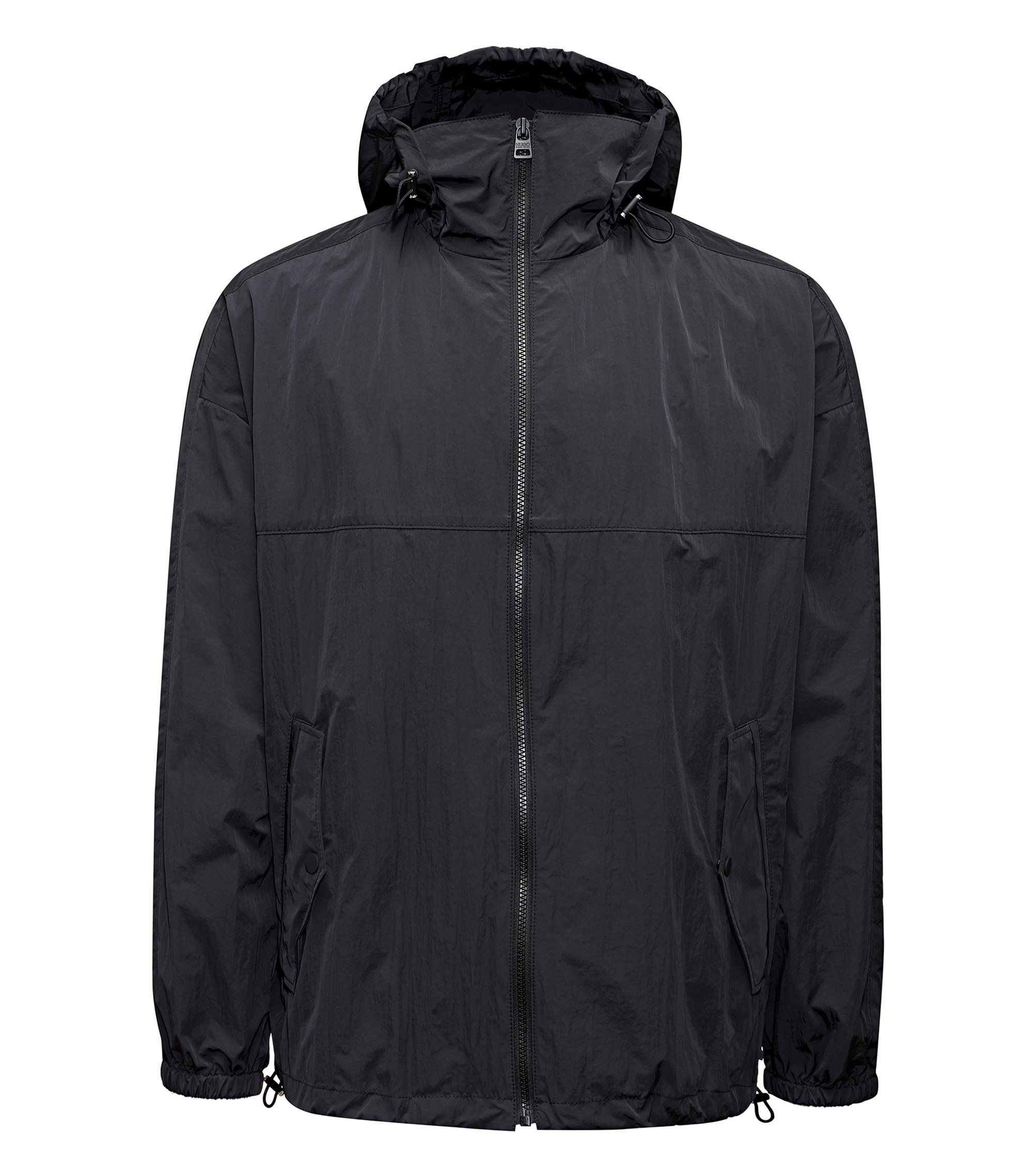 Veste à capuche Relaxed Fit en tissu imperméable, Noir