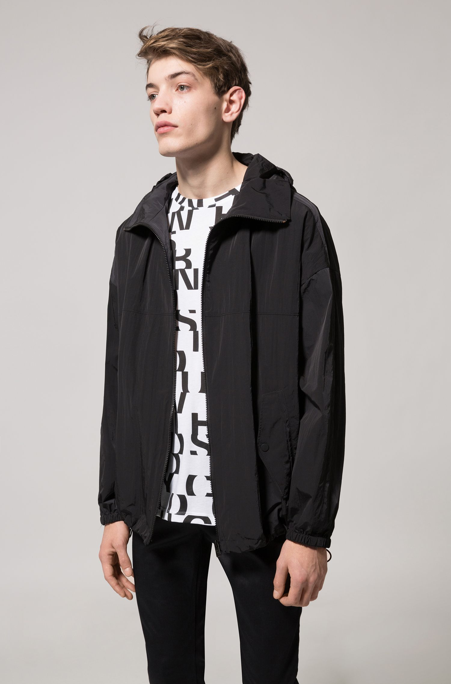 Relaxed-fit hooded jacket in water-repellent fabric, Black