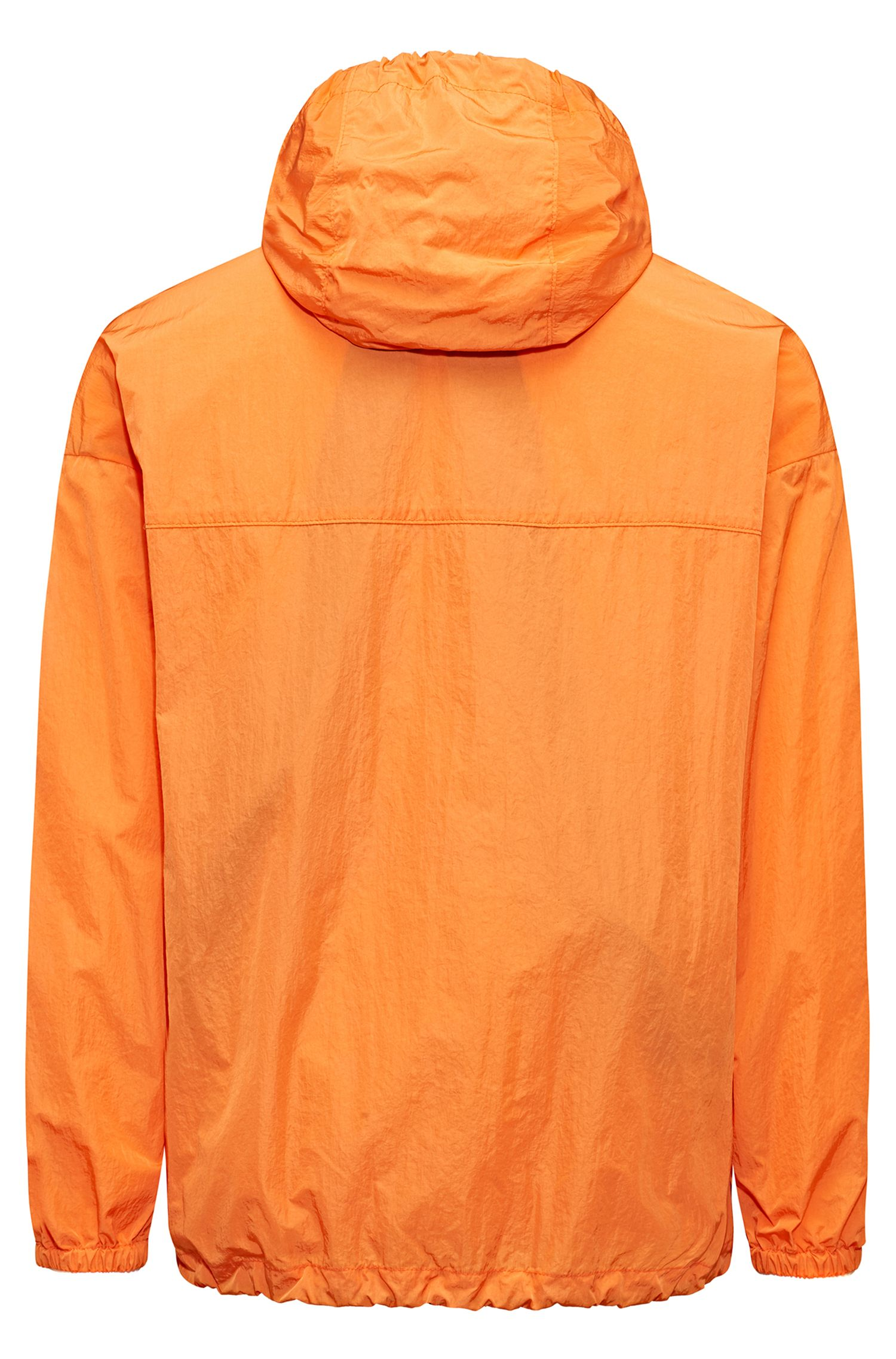 Veste à capuche Relaxed Fit en tissu imperméable, Orange