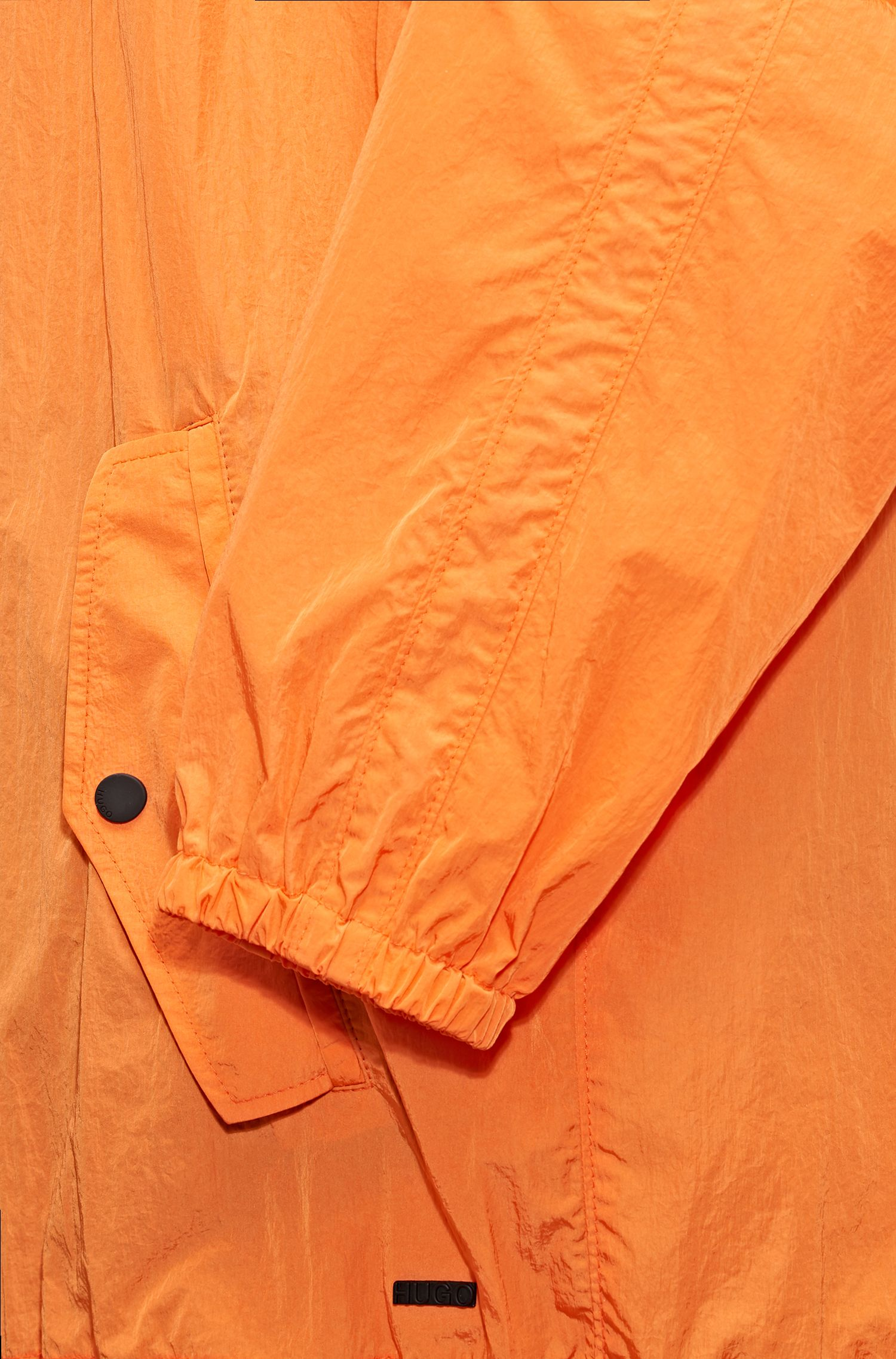 Relaxed-Fit Kapuzenjacke aus wasserabweisendem Material-Mix, Orange