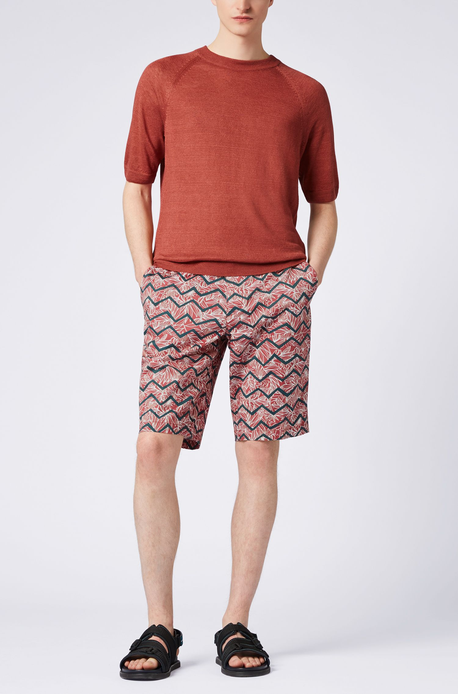 Regular-Fit Chino-Shorts aus Stretch-Baumwolle mit Digitaldruck