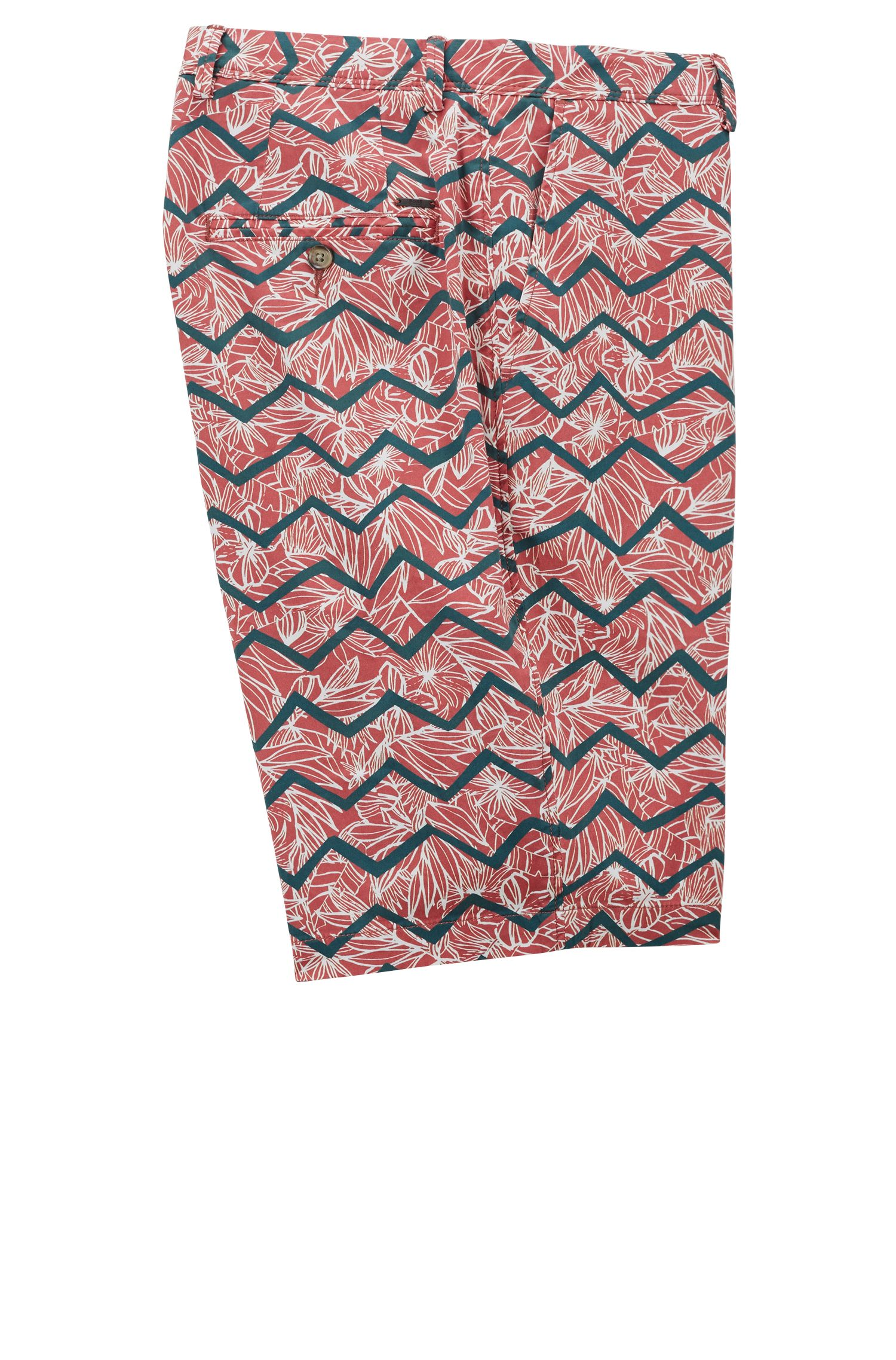 Chino shorts in digital-print stretch cotton, Open Red