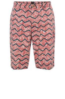 Regular-Fit Chino-Shorts aus Stretch-Baumwolle mit Digitaldruck, Hellrot