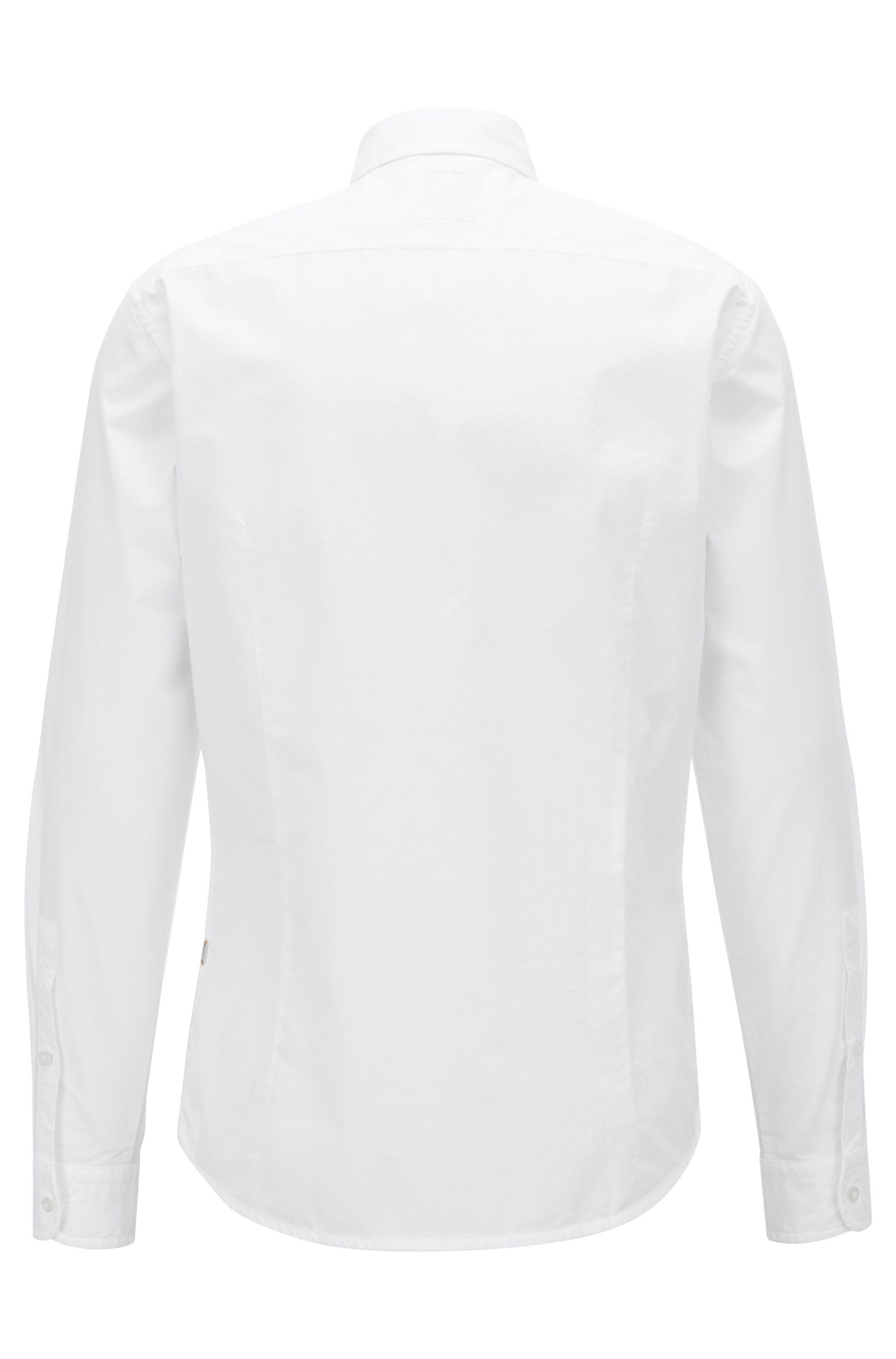 Slim-fit shirt in paper-touch cotton poplin