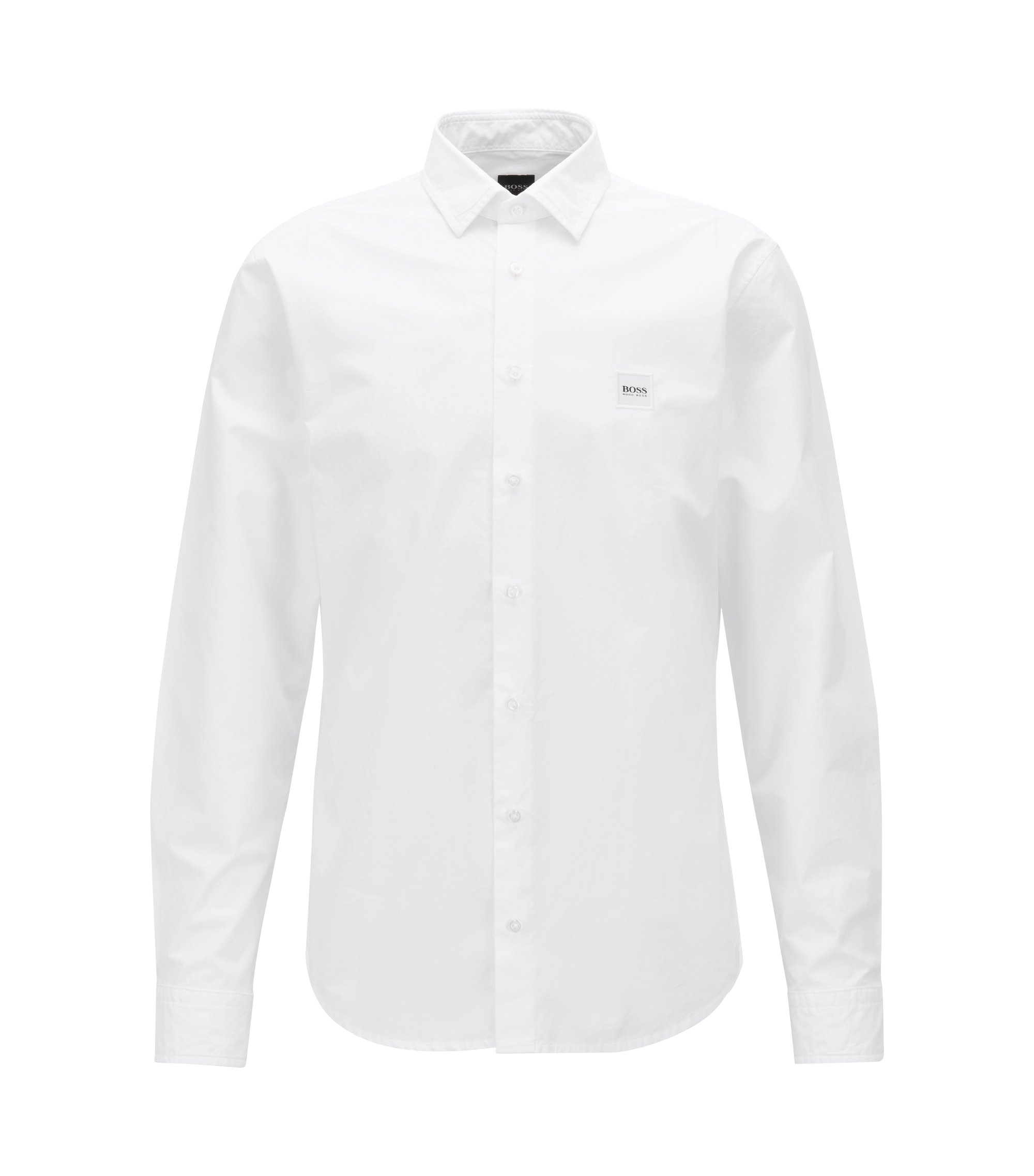 Slim-fit shirt in paper-touch cotton poplin, White