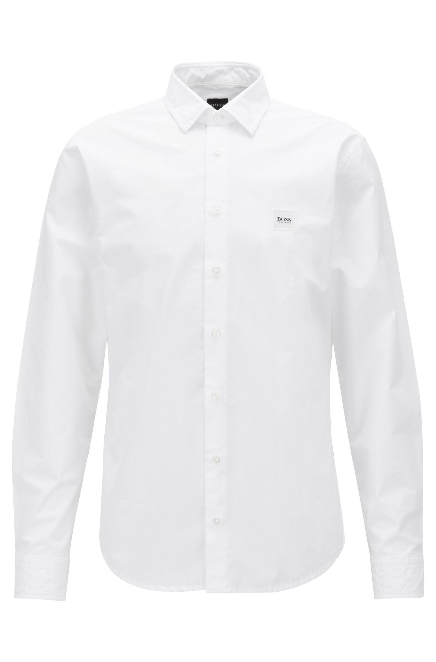 Camisa slim fit en popelín de algodón con tacto de papel, Blanco