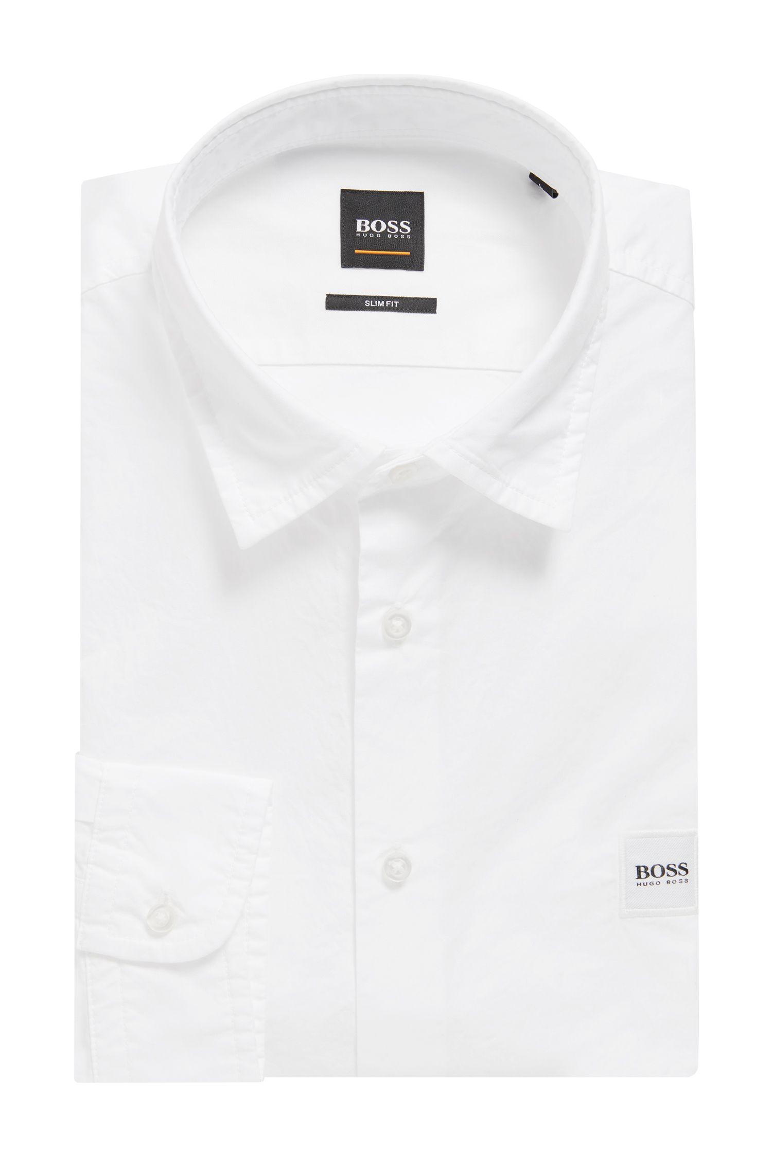 Slim-fit overhemd in paper-touch popeline van katoen