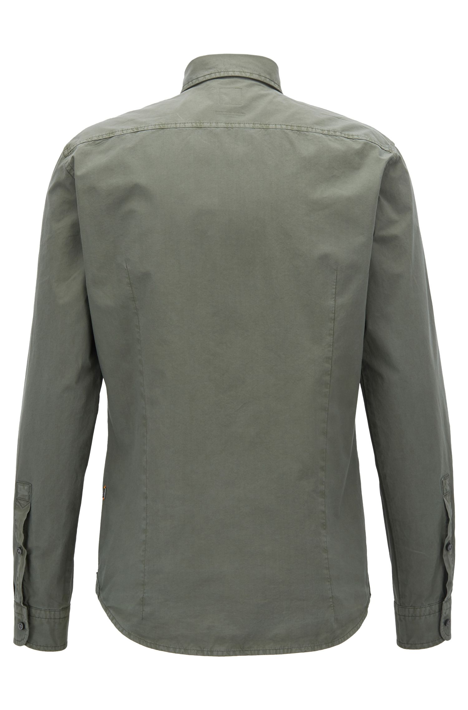 Hugo Boss - Slim-fit shirt in paper-touch cotton poplin - 3