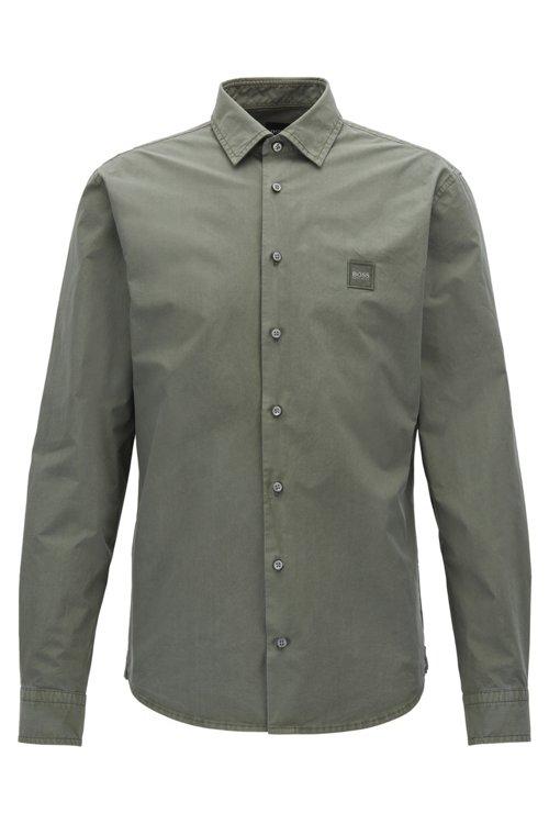 Hugo Boss - Slim-fit shirt in paper-touch cotton poplin - 1