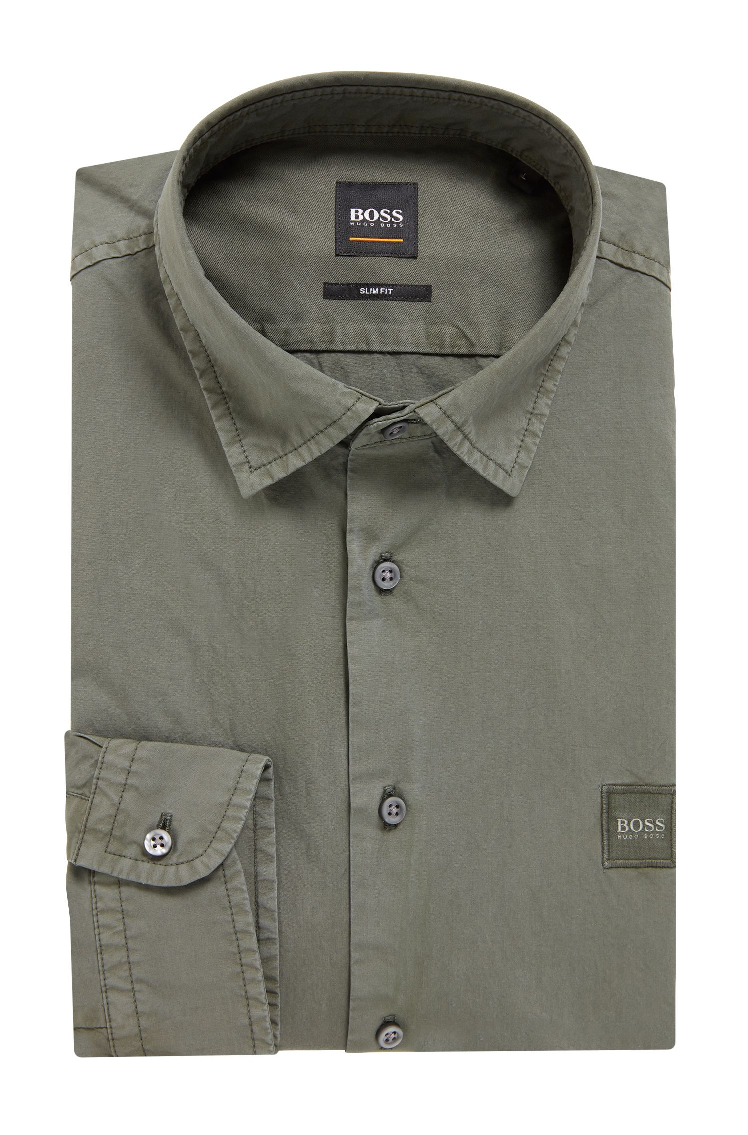 Camisa slim fit en popelín de algodón con tacto de papel, Verde oscuro