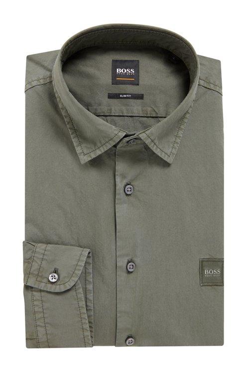 Hugo Boss - Slim-fit shirt in paper-touch cotton poplin - 4