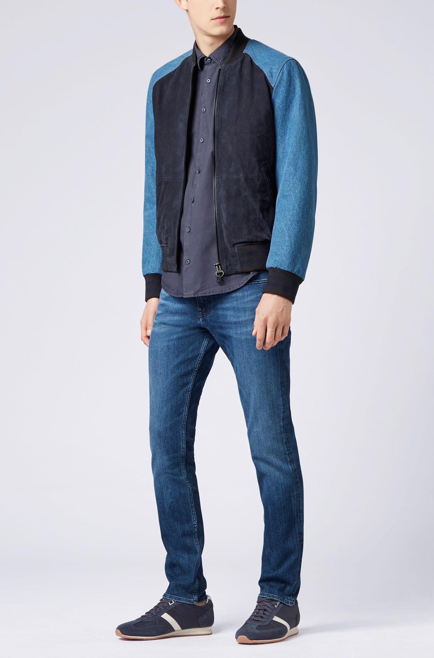Camisa slim fit en popelín de algodón con tacto de papel, Azul oscuro