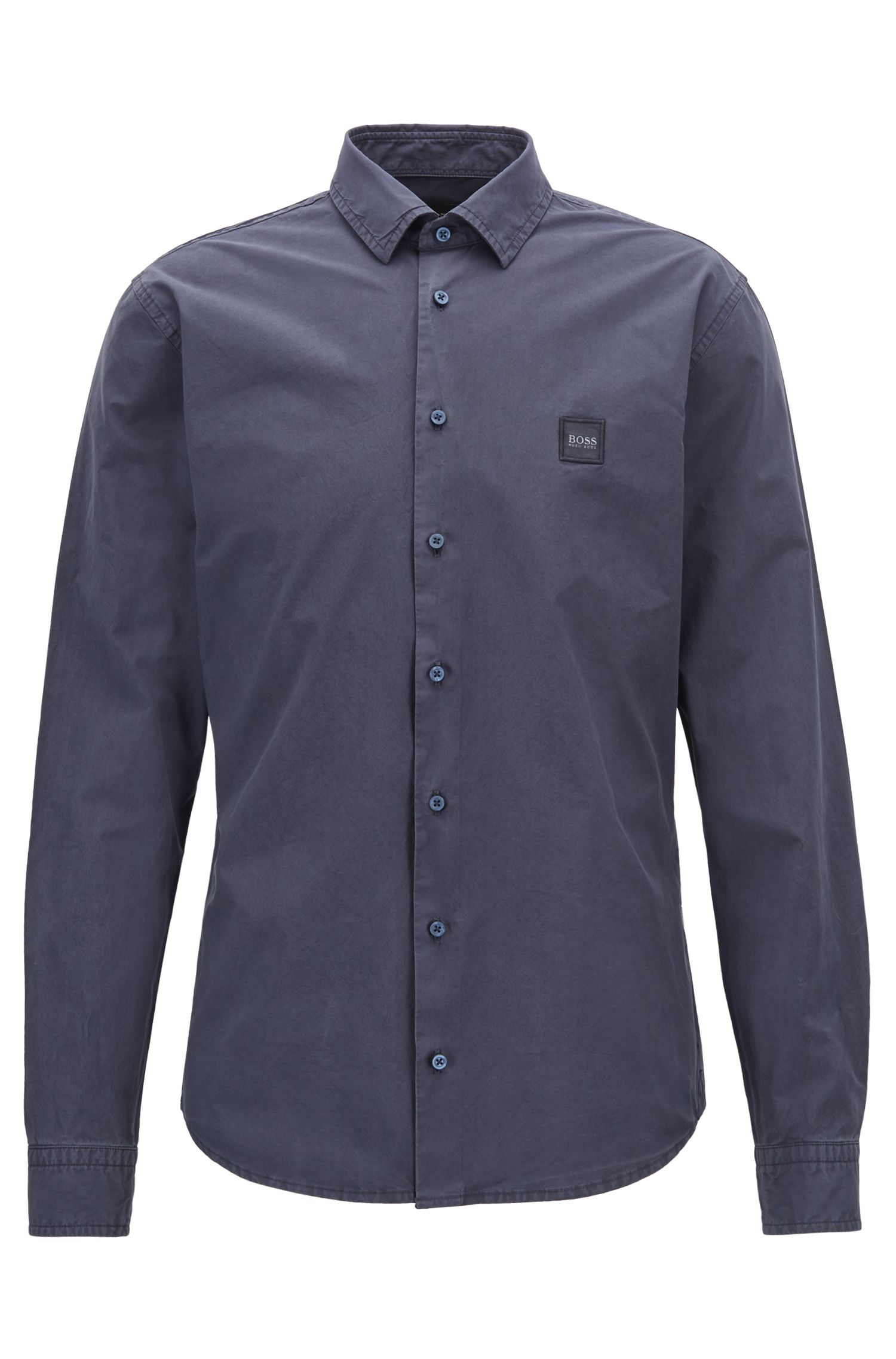Hugo Boss - Slim-fit shirt in paper-touch cotton poplin - 1