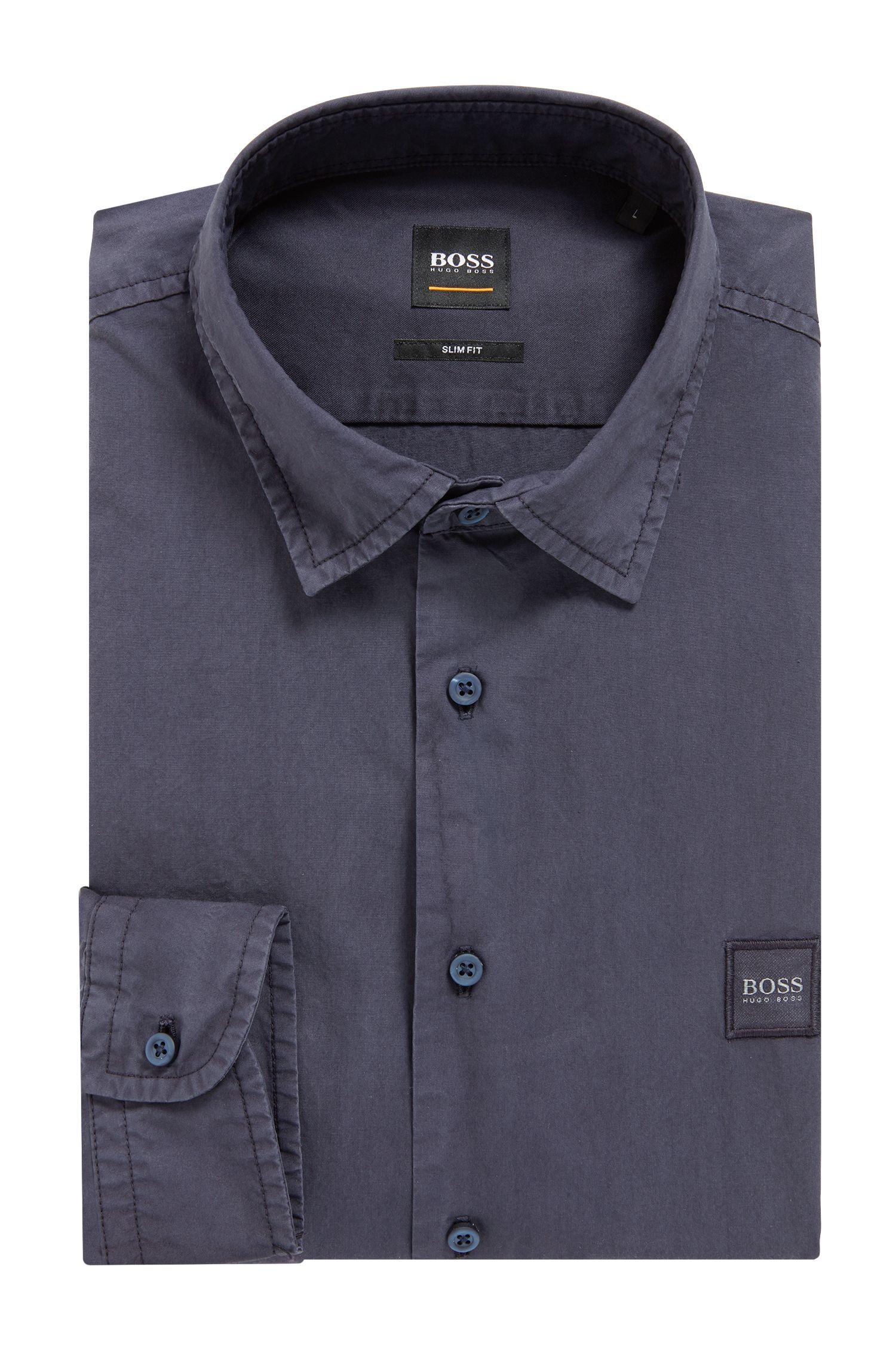 Slim-fit overhemd in paper-touch popeline van katoen, Donkerblauw