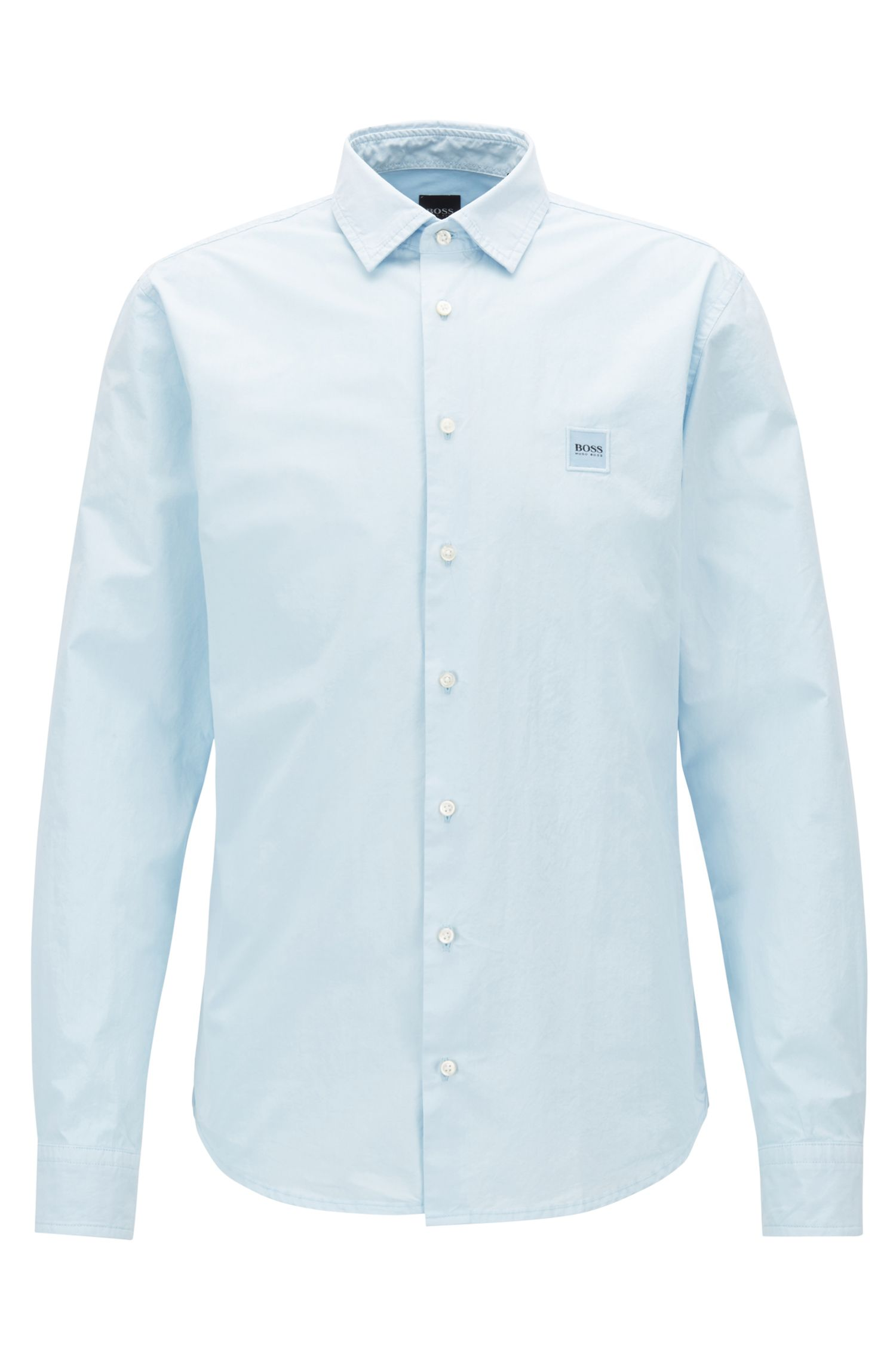 Slim-fit shirt in paper-touch cotton poplin, Light Blue