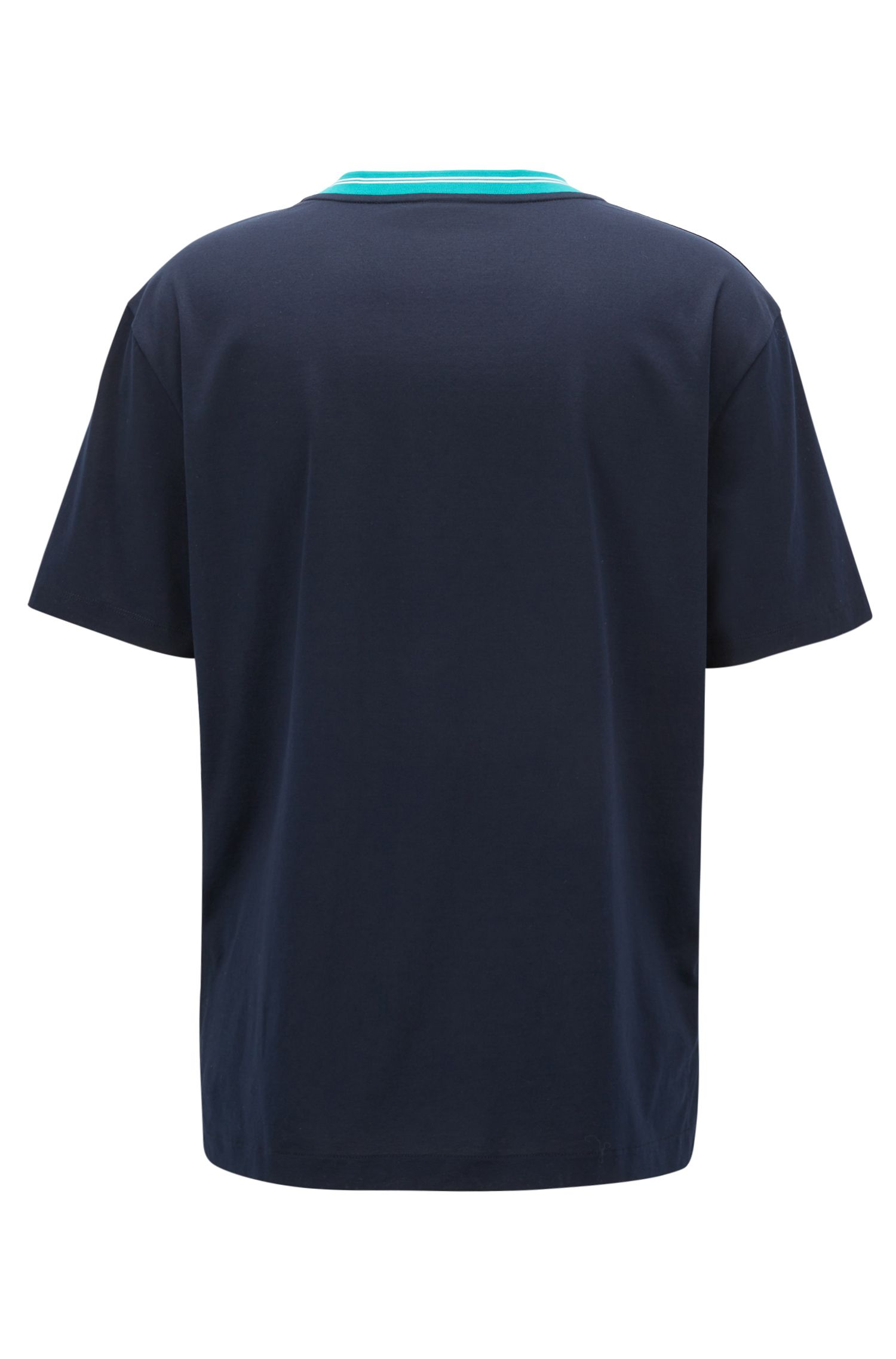 Hugo Boss - Mercerised-cotton T-shirt with contrast collar band - 3