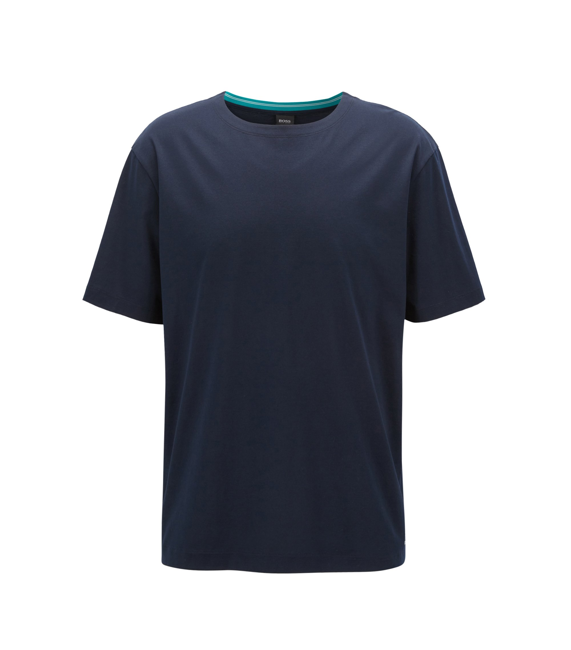 Mercerised-cotton T-shirt with contrast collar band, Dark Blue