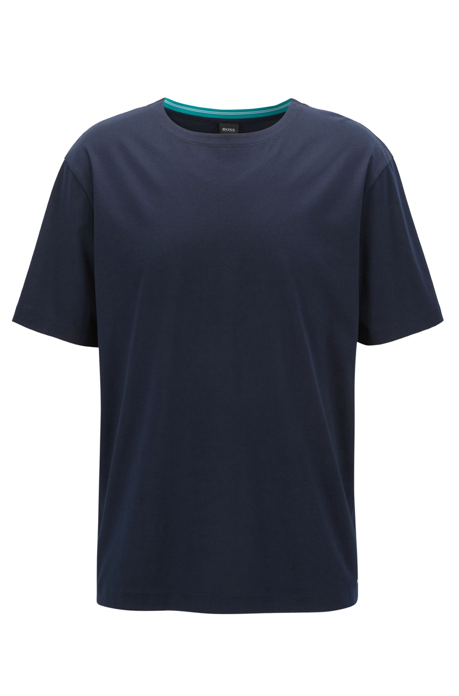 Mercerised-cotton T-shirt with contrast collar band