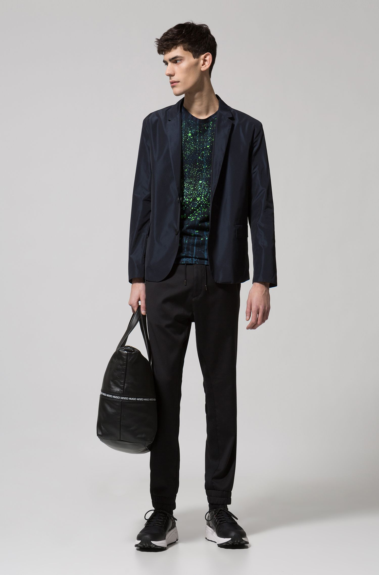 Packable blazer in reversible technical fabric, Dark Blue