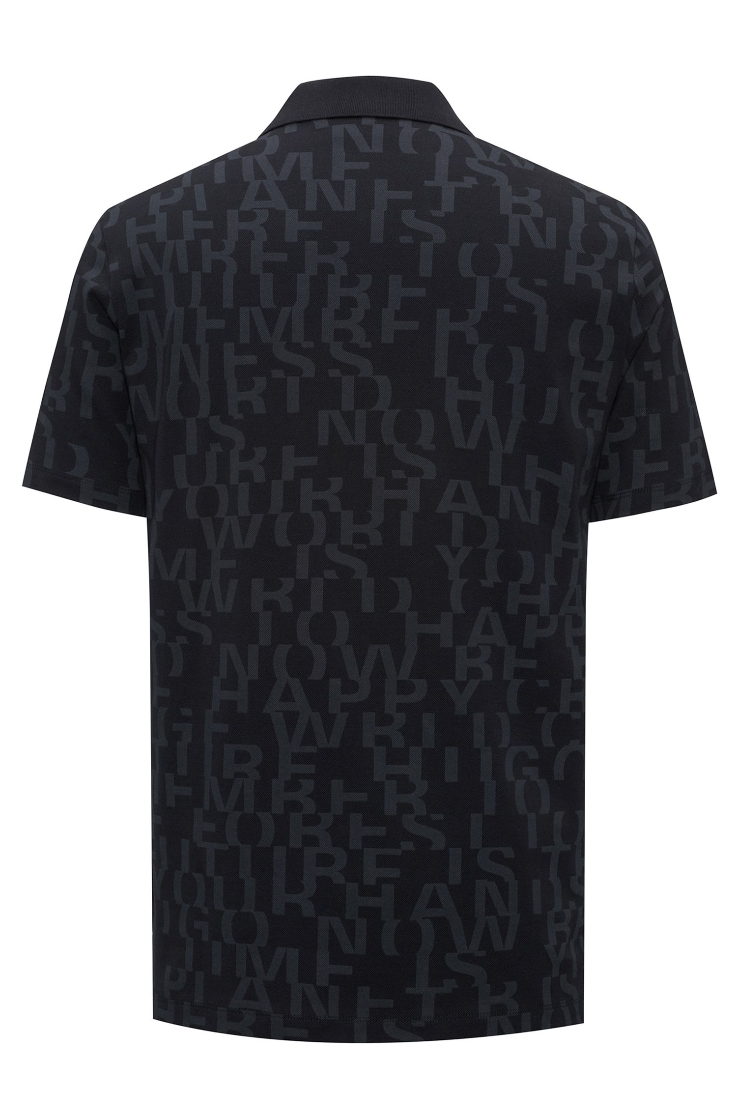 Cotton piqué polo shirt with all-over slogan print