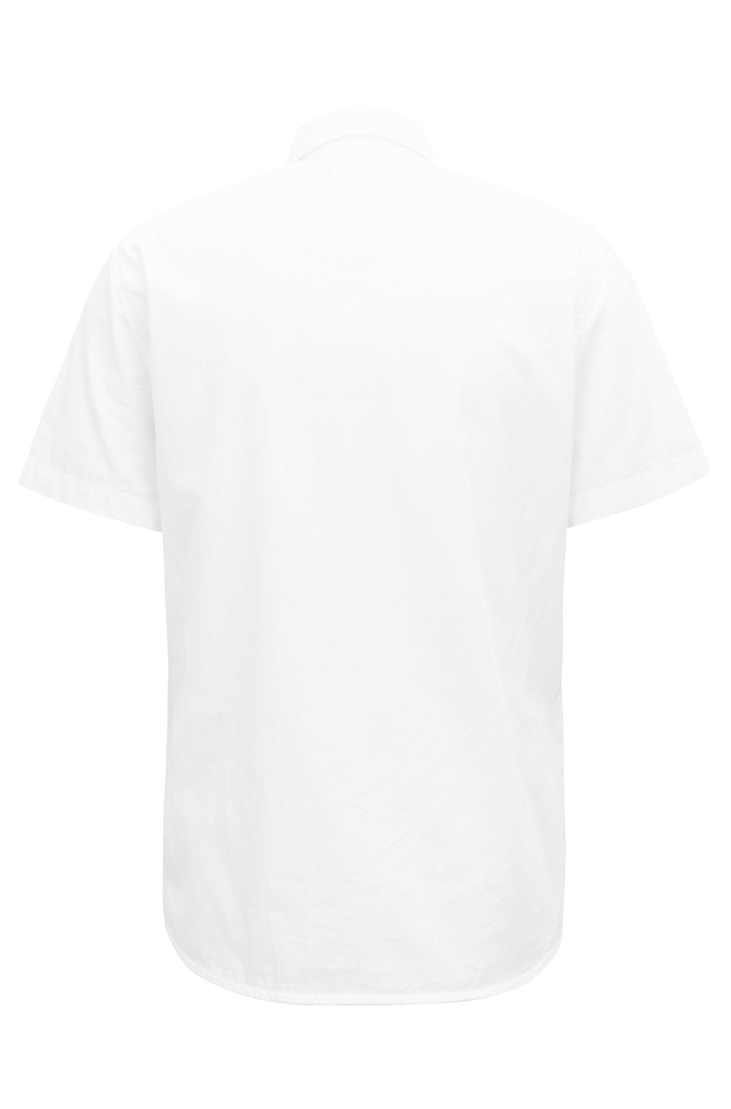 Camicia regular fit in cotone lavato con contrasti in tessuto dobby, Bianco